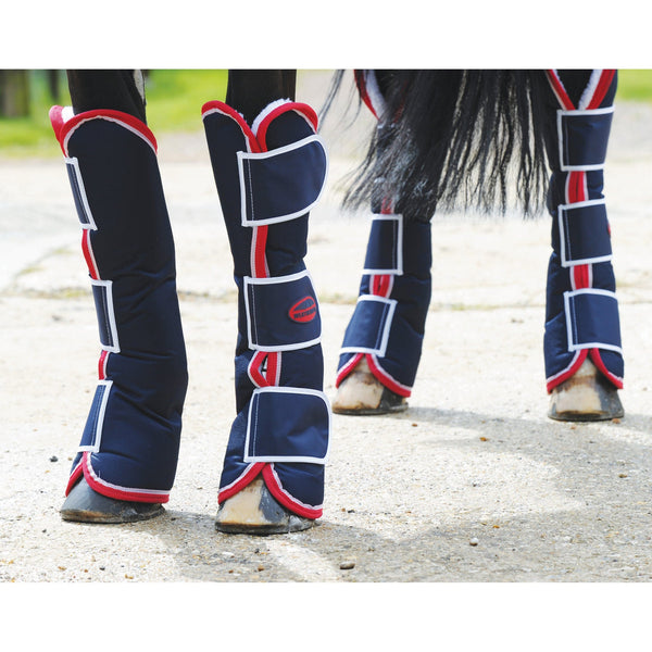 Weatherbeeta Travel Boots Navy Red White Lifestyle 187112