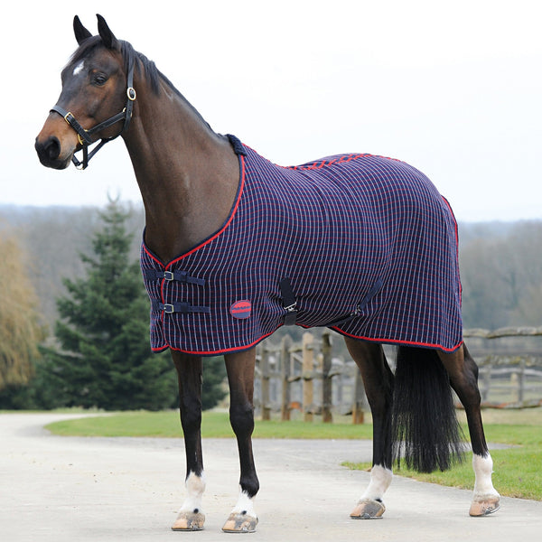 Weatherbeeta Waffle Cooler Standard Neck Rug in Navy and Red Check 617486