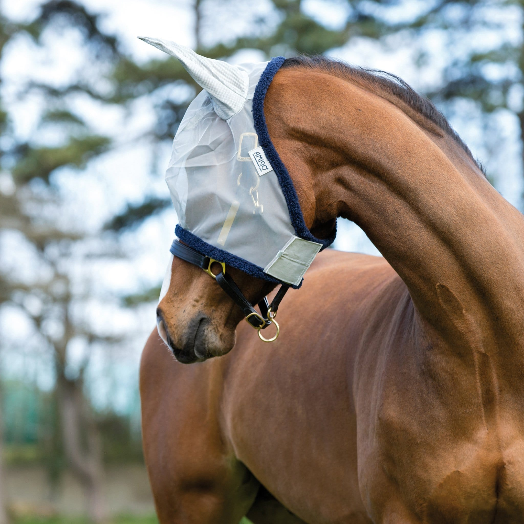 Amigo Fine Mesh Fly Mask With Ears DMRF6F Silver and Navy
