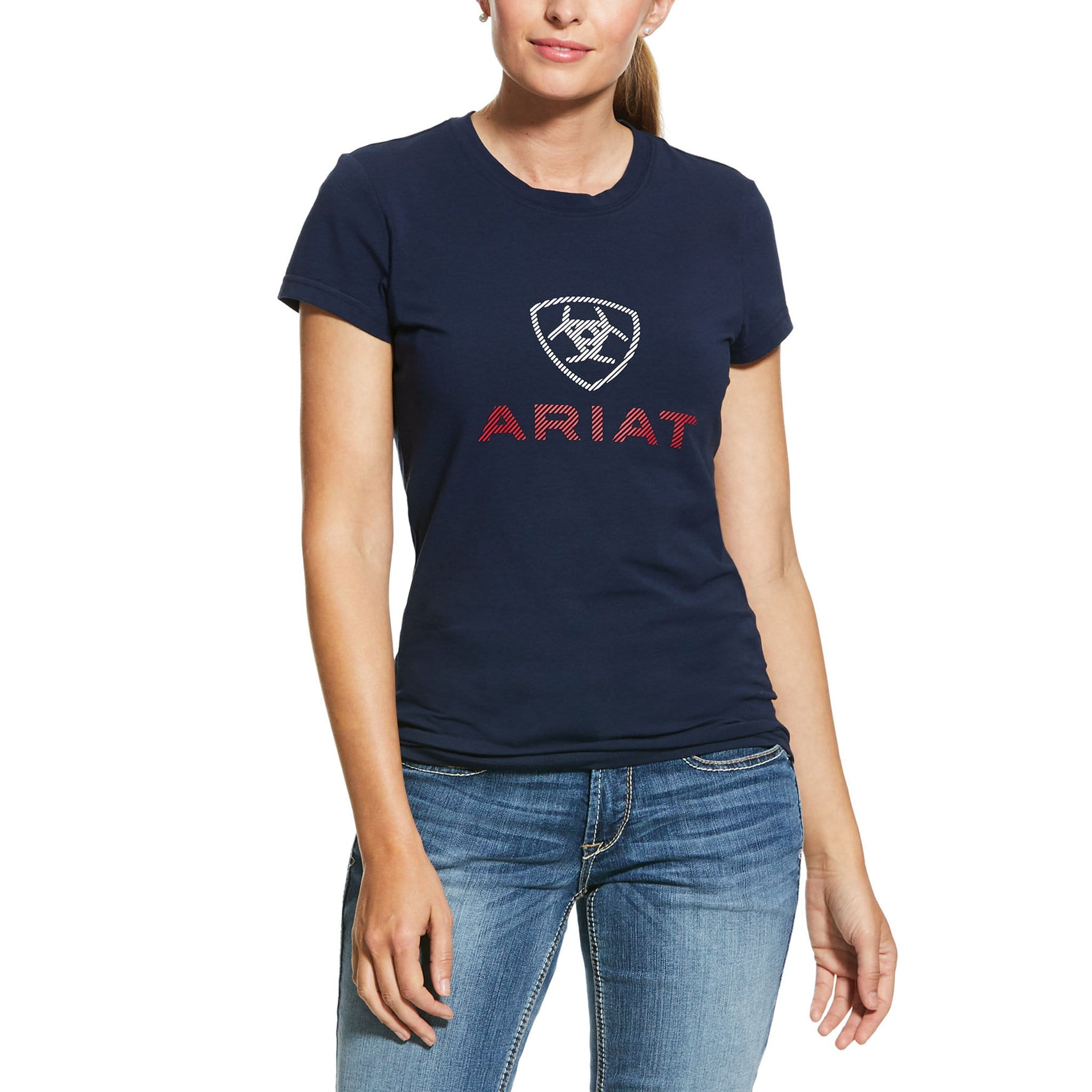 Ariat HD Logo Short Sleeve T-Shirt 10030359 Navy On Model