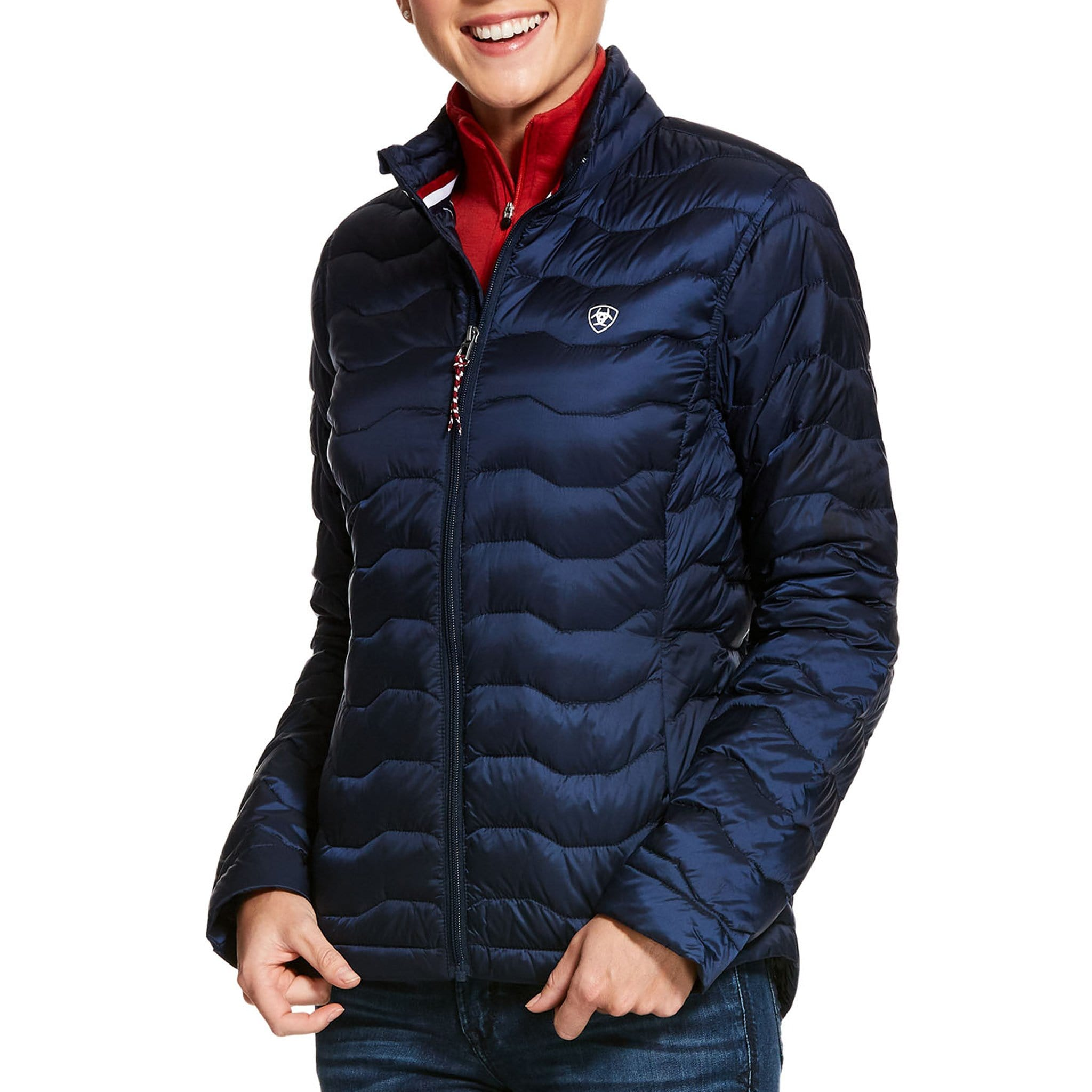 Ariat Ideal 3.0 Down Jacket 10028107 Navy Front View On Model