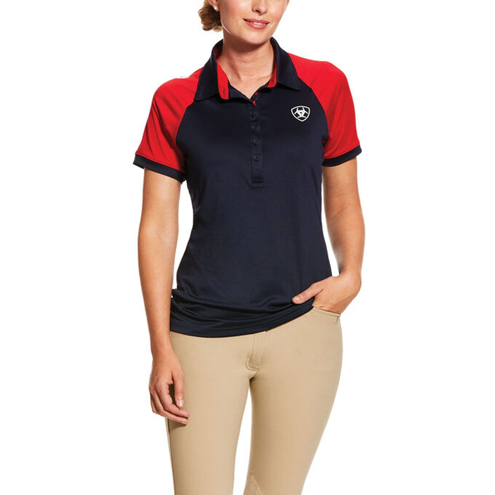 Ariat TEAM 3.0 Polo Red and Navy Front 10030552