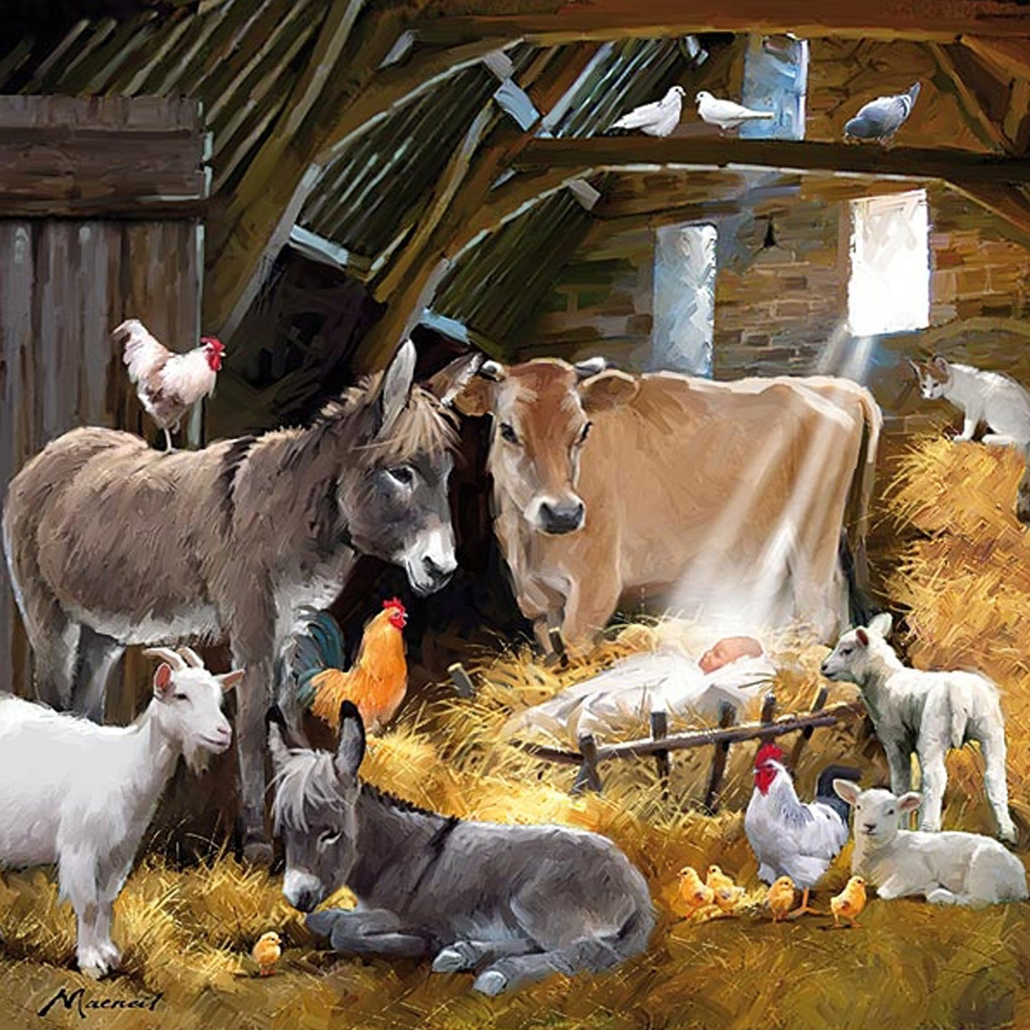Christmas On The Farm Christmas Cards Animals In Barn