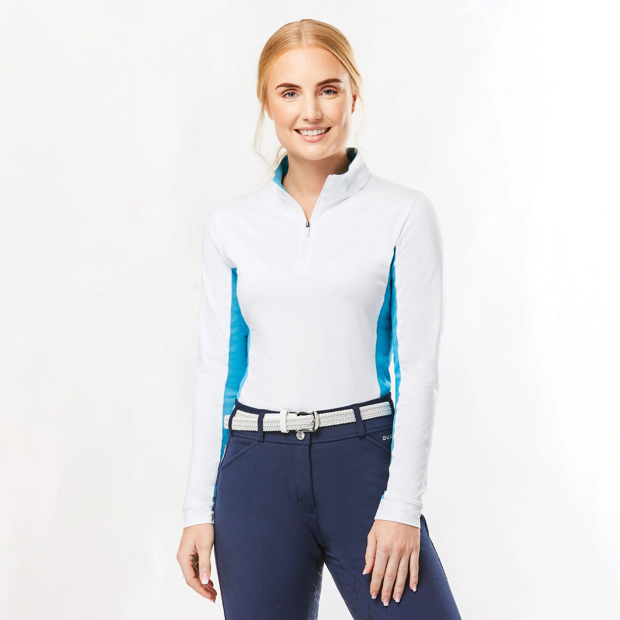 Dublin Airflow CDT Long Sleeve Tech Top 1001261003 White and Aqua On Model Front