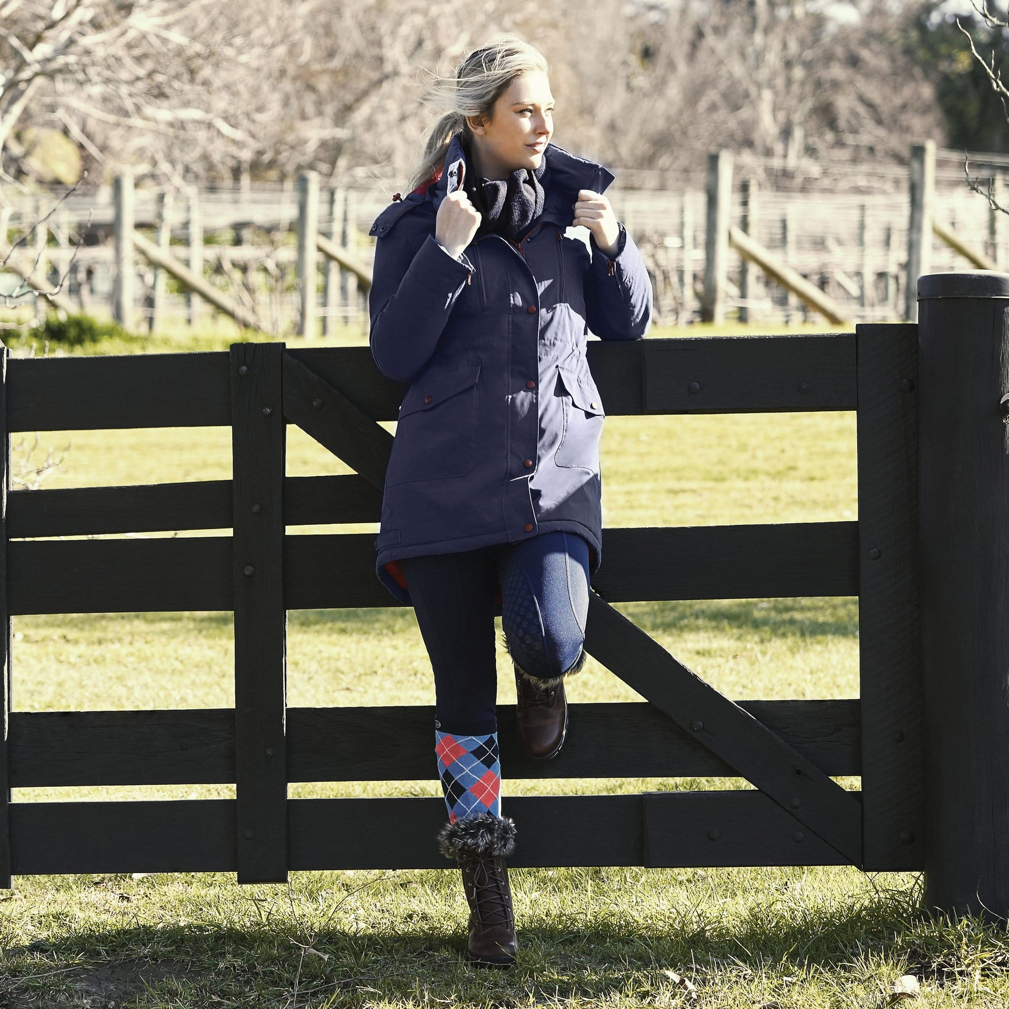 Dublin Bianca Long Line Parka Coat Estate Dark Blue 1000494001 On Model By Fence