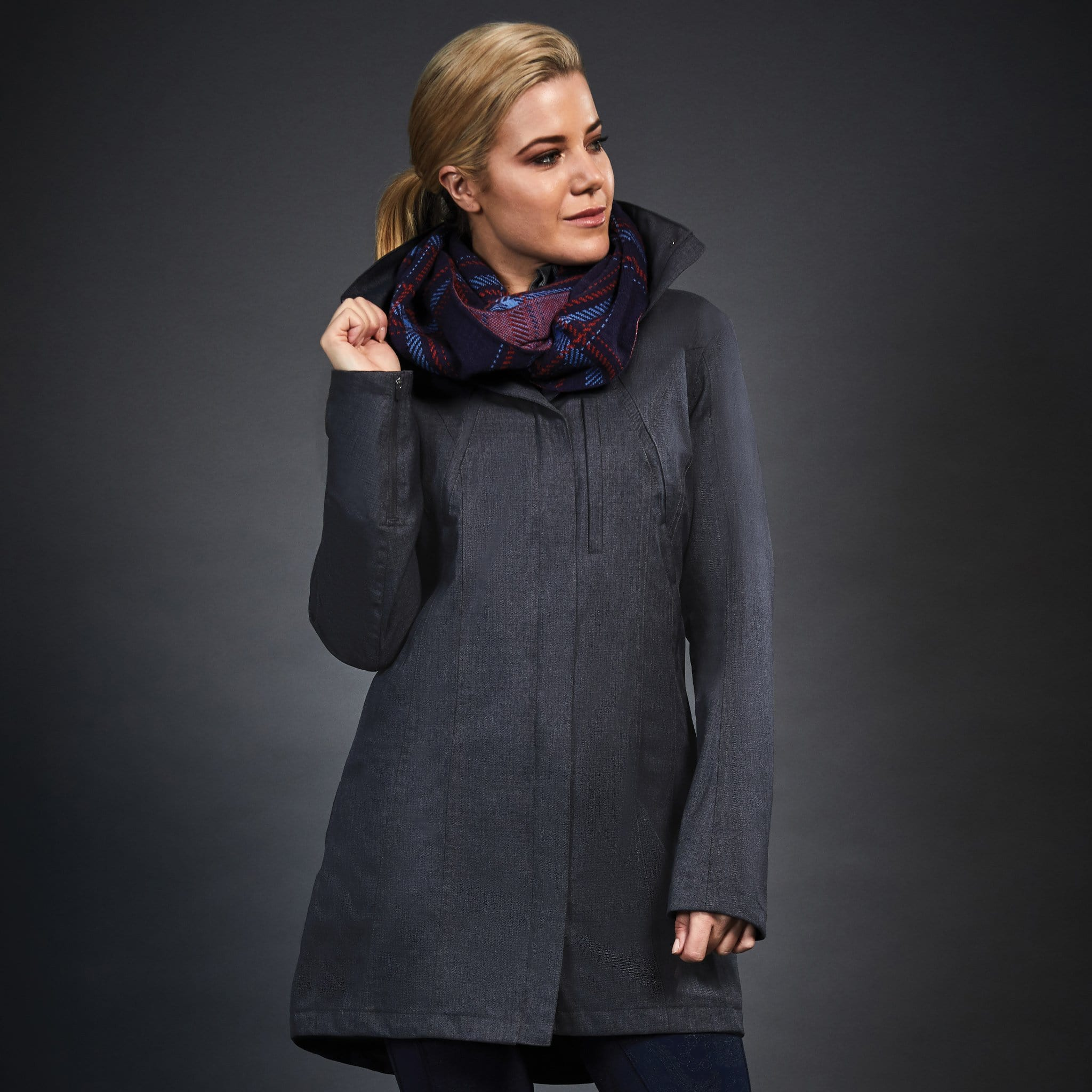 Dublin Black Ellie Waterproof Coat 1000567002 Grey Front On Model