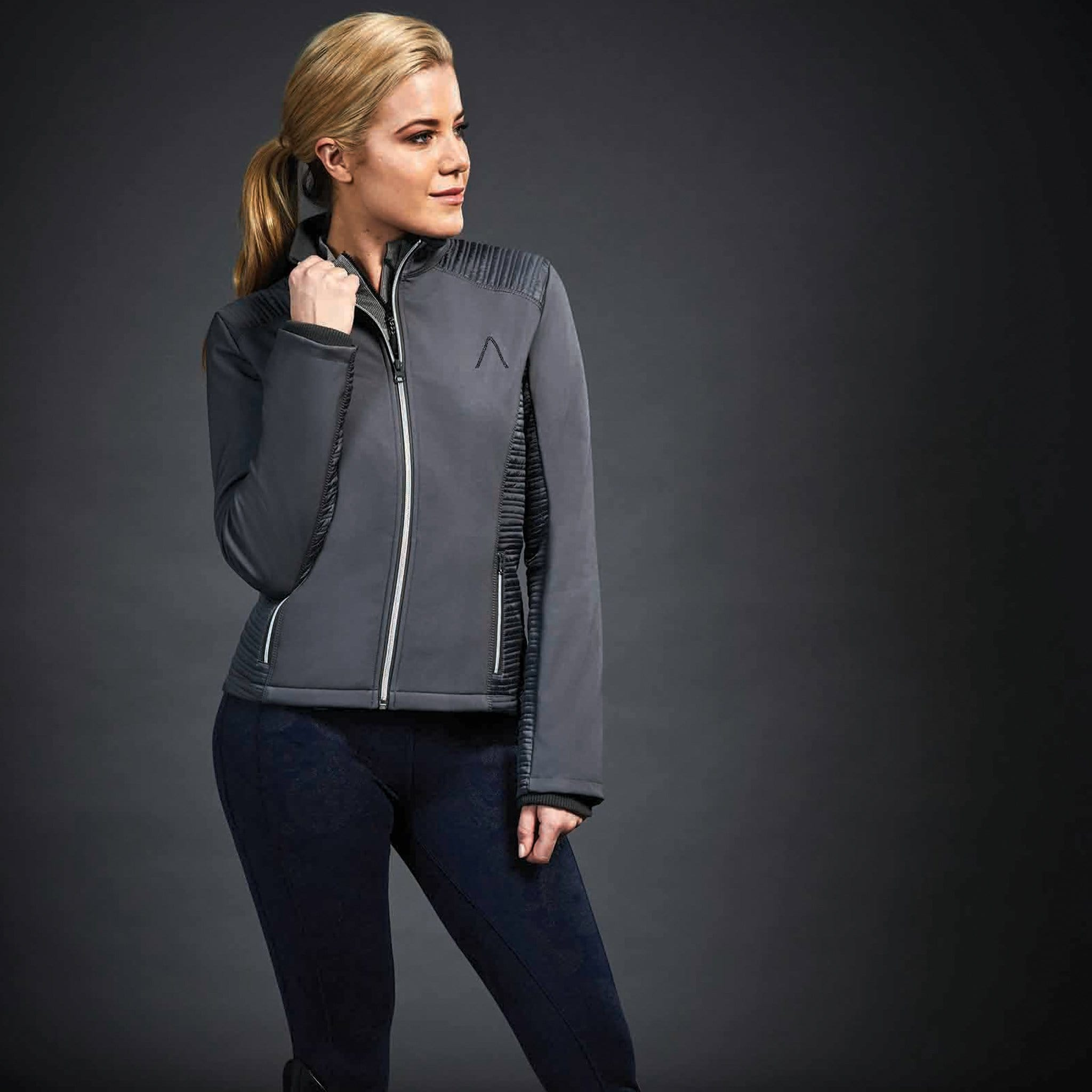 Dublin Black Jessica Softshell Jacket 1000568002 Charcoal On Model