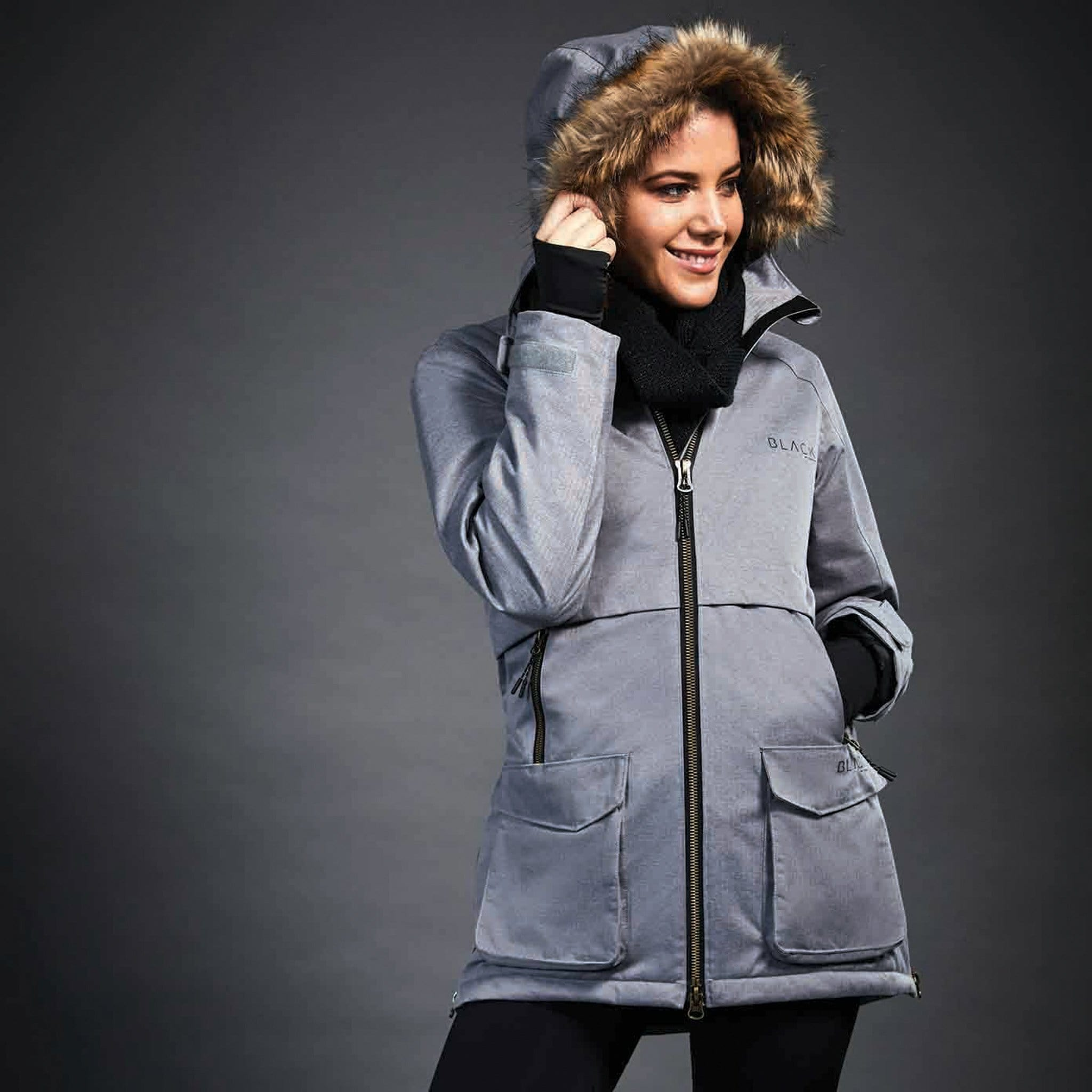 Dublin Black Wendy Waterproof Coat 1000561001 Charcoal On Model With Hood Up
