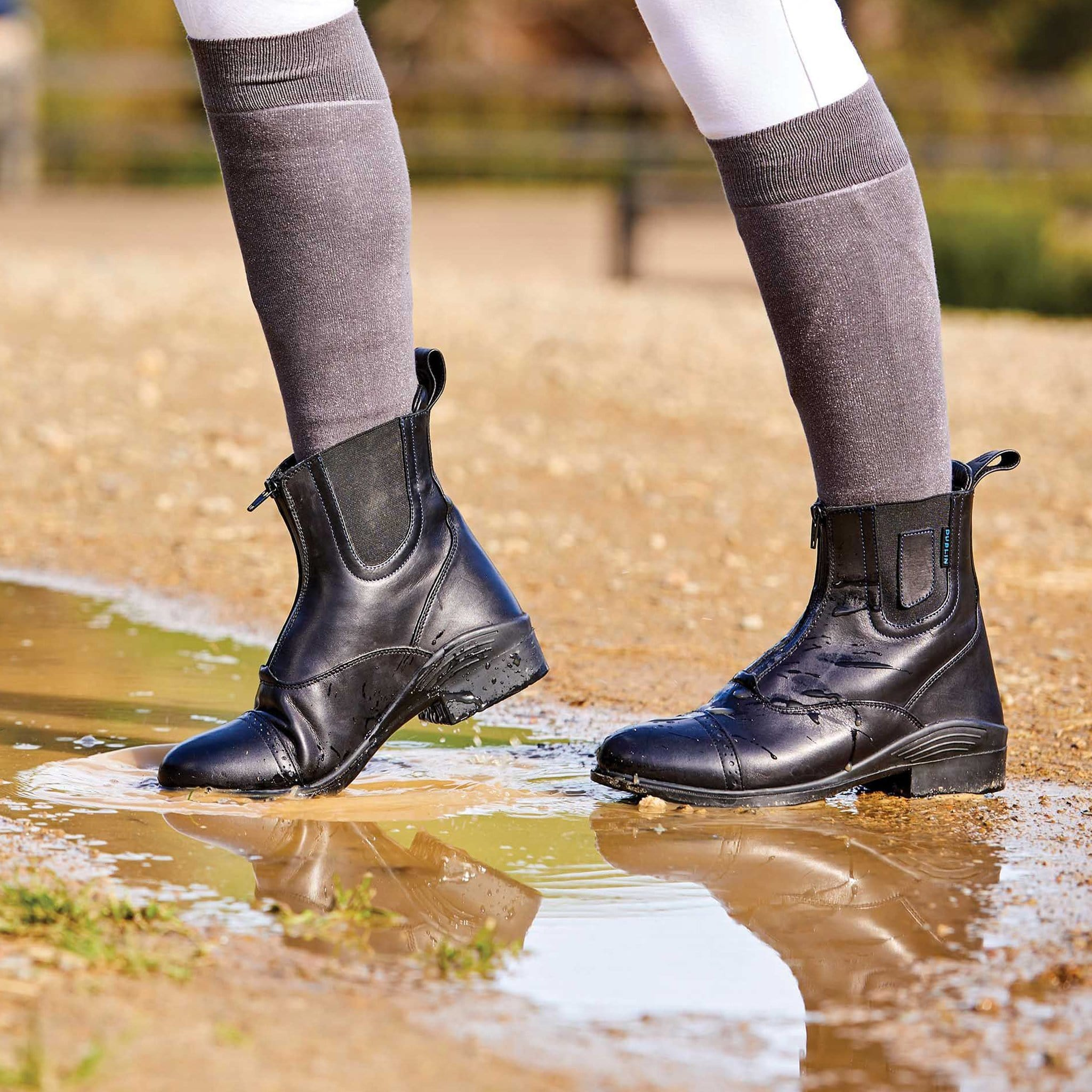 Dublin Elevation Waterproof Zip Front Paddock Boots 1001731003 Black On Model In Puddle