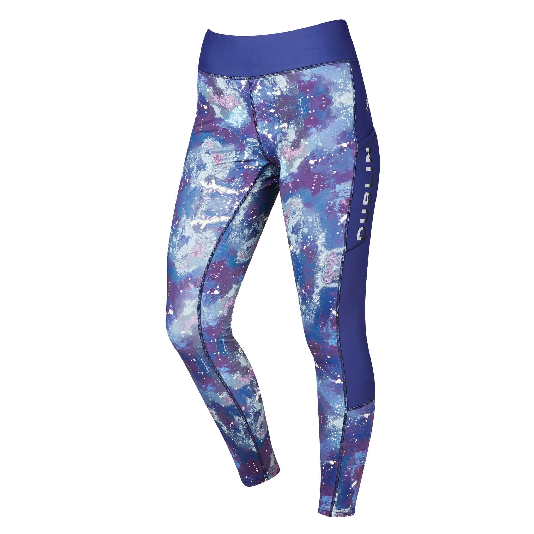 Dublin Gabriella Sculpt Printed Silicone Full Seat Riding Tights 1002997002 Indigo Blue Front View
