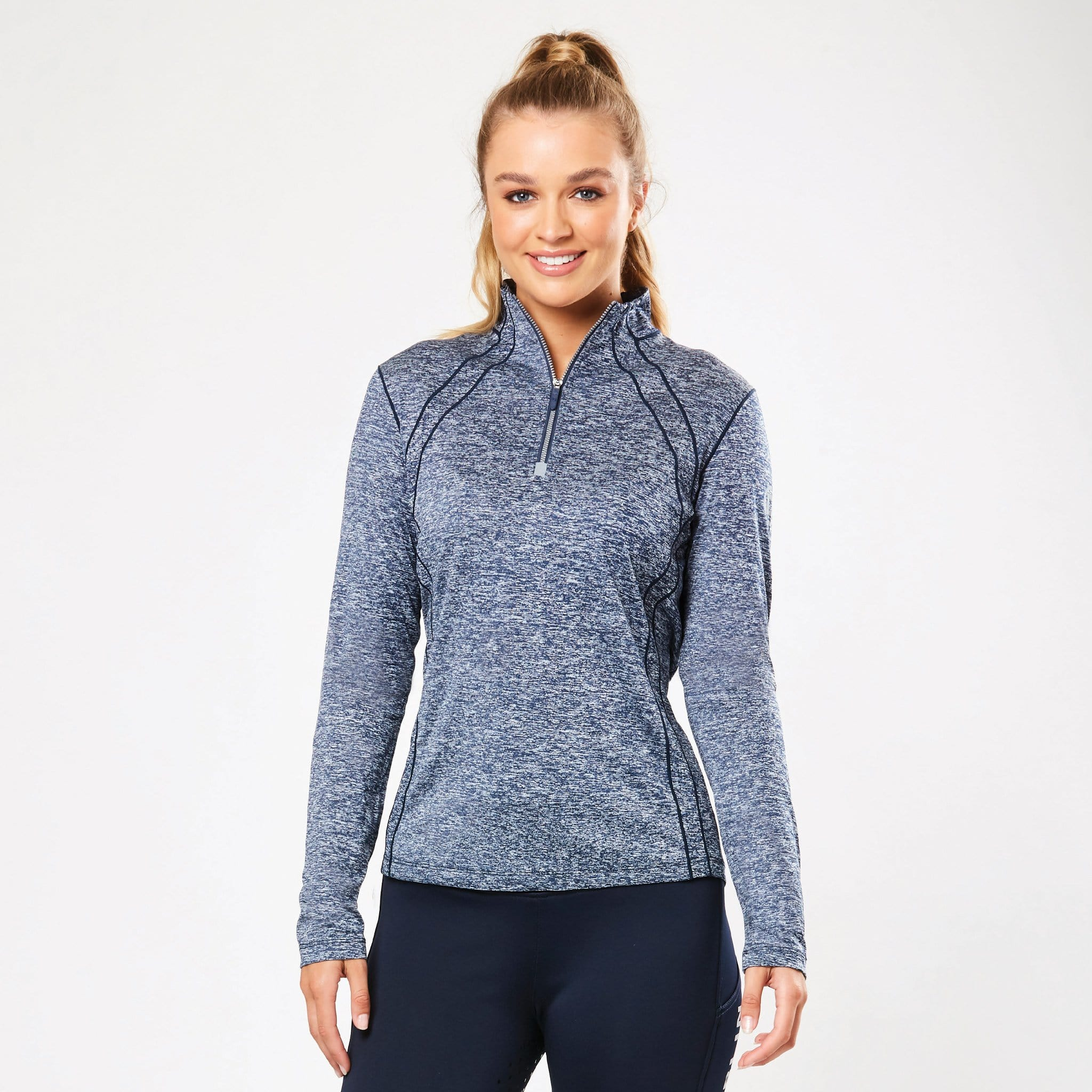 Dublin Maddison Technical Long Sleeve Top 1003001003 Blue Indigo Melange Front View On Model