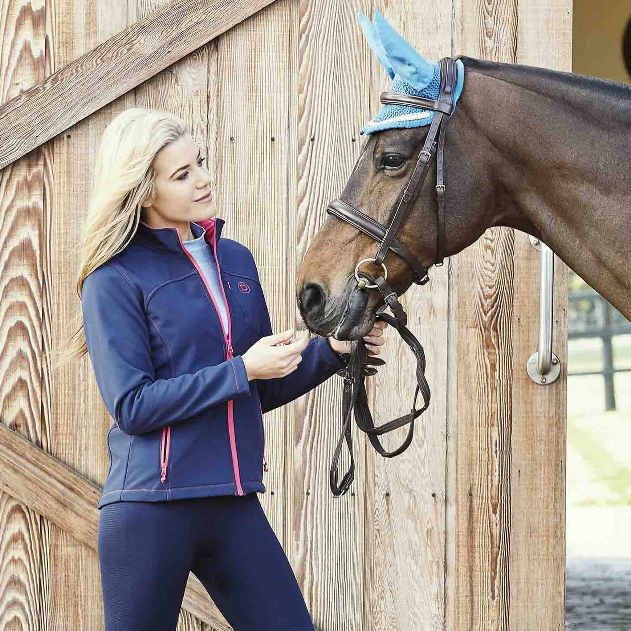 Dublin Sachi Jacket 819626 Navy and Poppy On Model With Horse