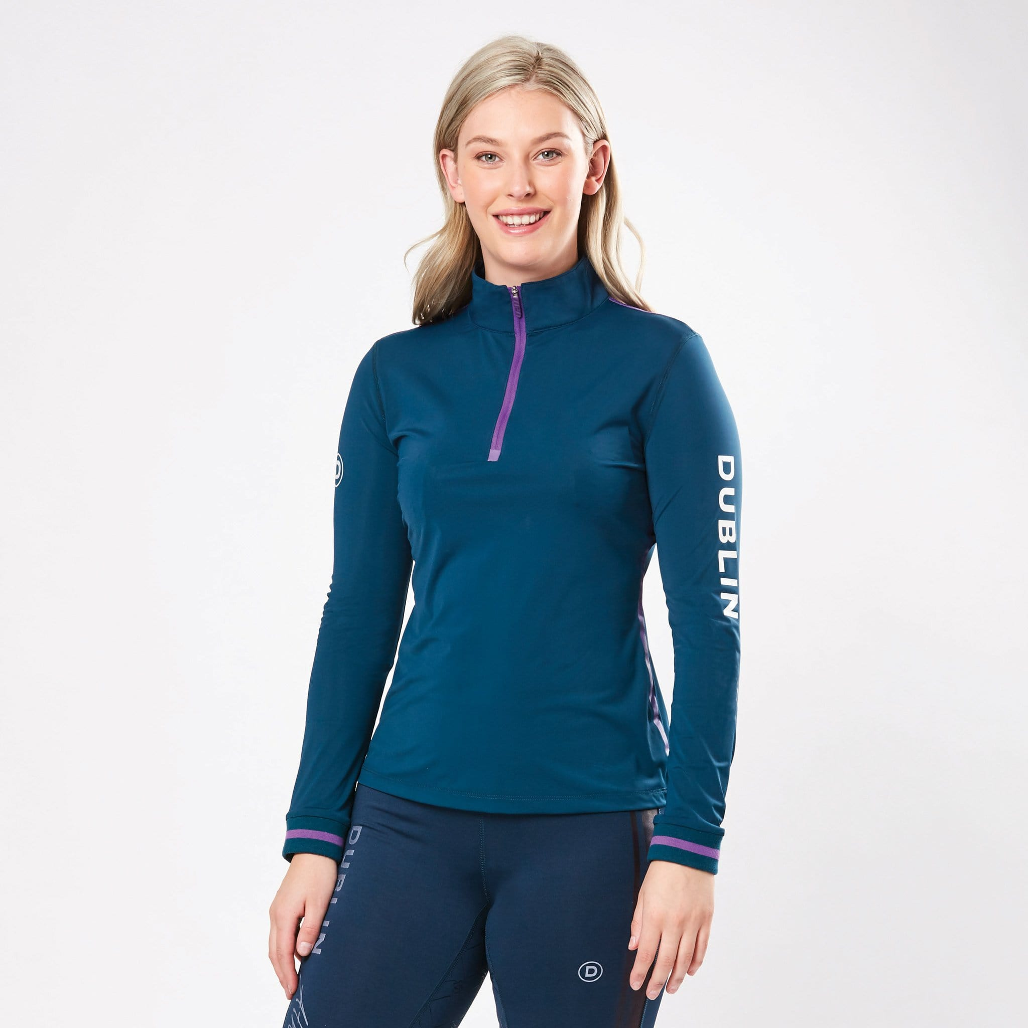 Dublin Shirley Airflow Long Sleeve Top 1002775003 Moonlight Blue On Model Front View