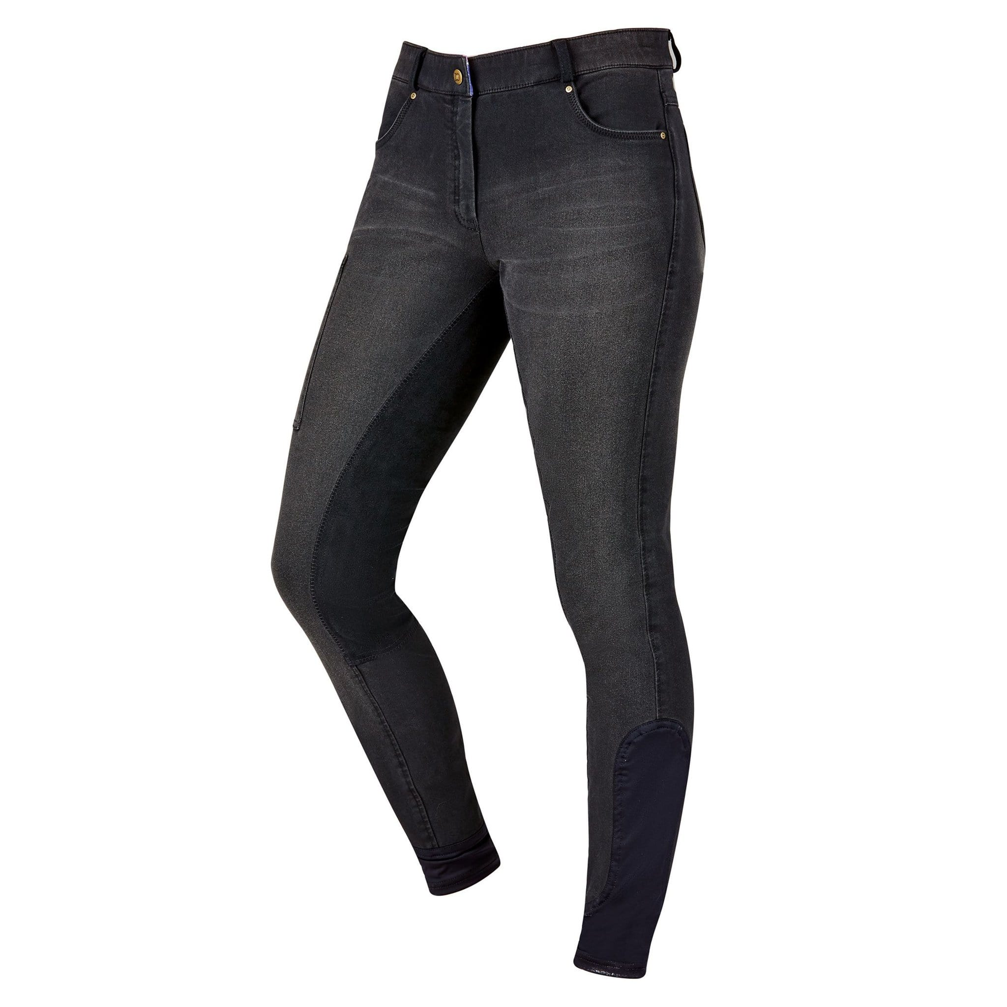 Dublin Shona Denim Alos Full Seat Breeches 1001807 Ash Black Grey Front