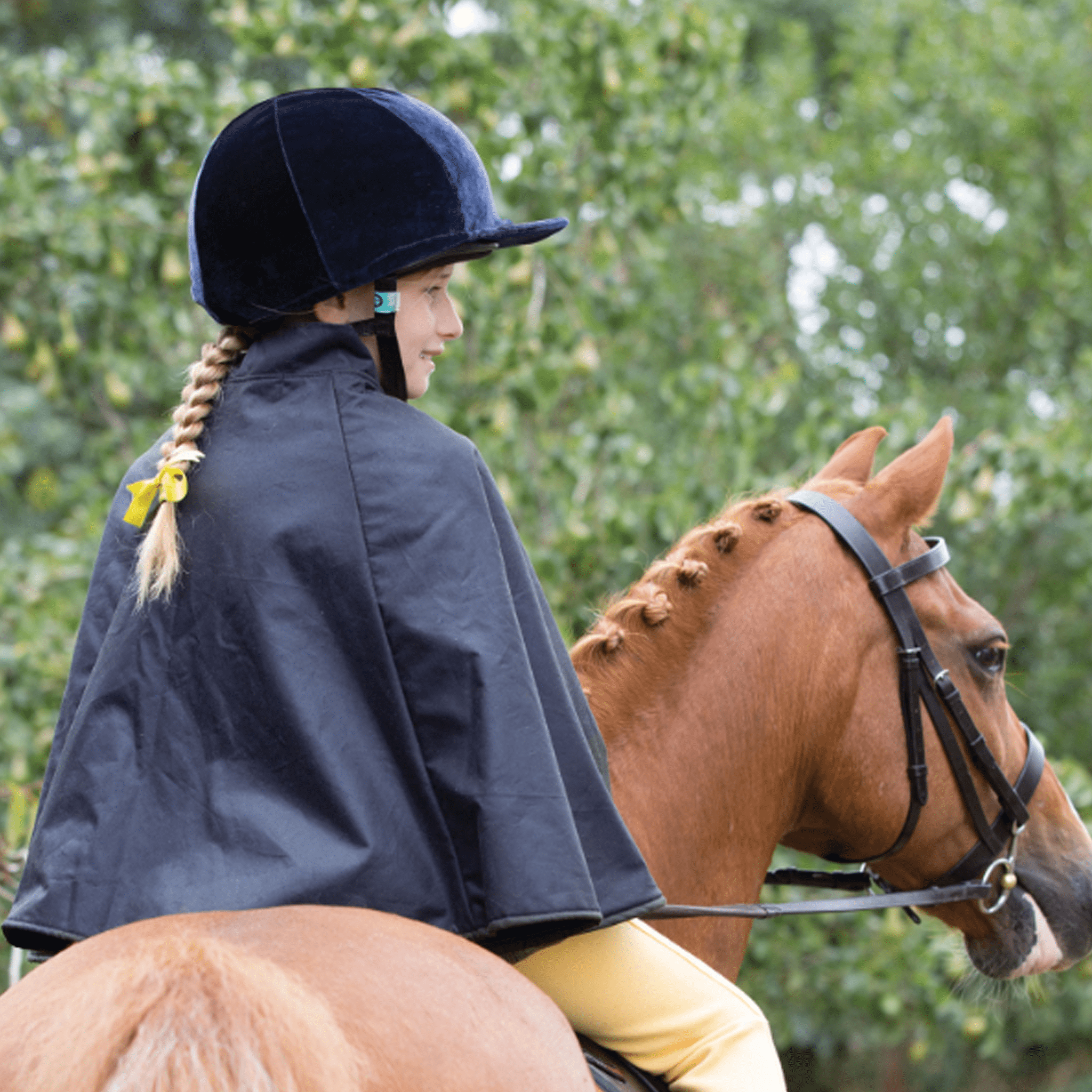 Equetech Children's Showing Cape Navy on horse JCA