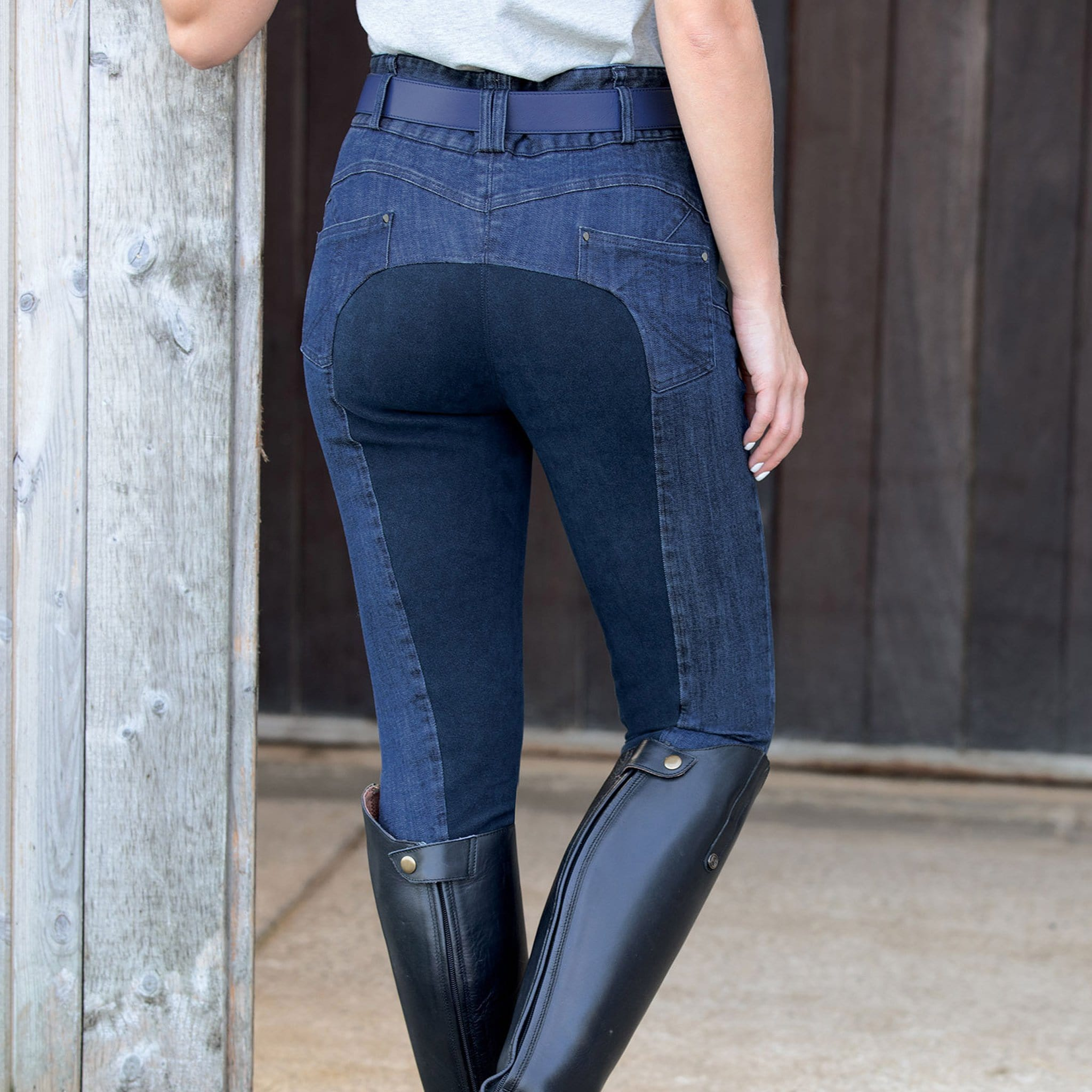 Equetech Denim Shaper Alos Full Seat Breeches DSB Dark Blue Navy On Model Rear