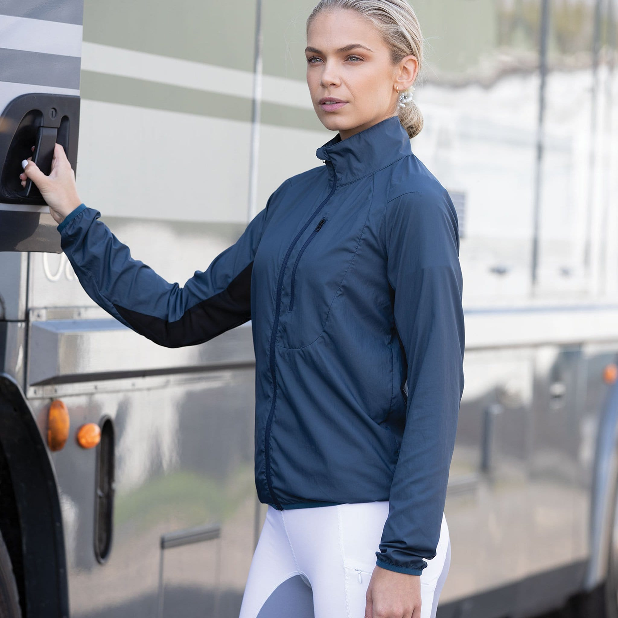 Equetech Hack-A-Mac Jacket HAM Navy On Model By Horsebox Front
