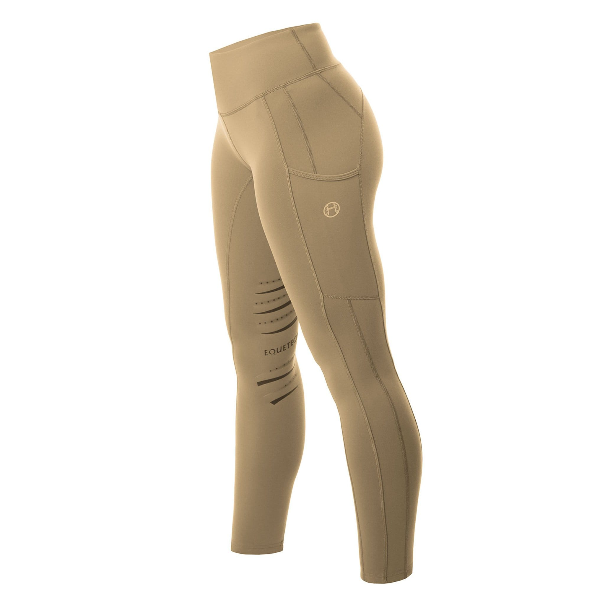 Equetech Inspire Silicone Knee Patch Riding Tights IRT Beige Side View