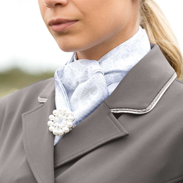 Equetech Jersey Deluxe Dressage Tailcoat Grey Collar Detail