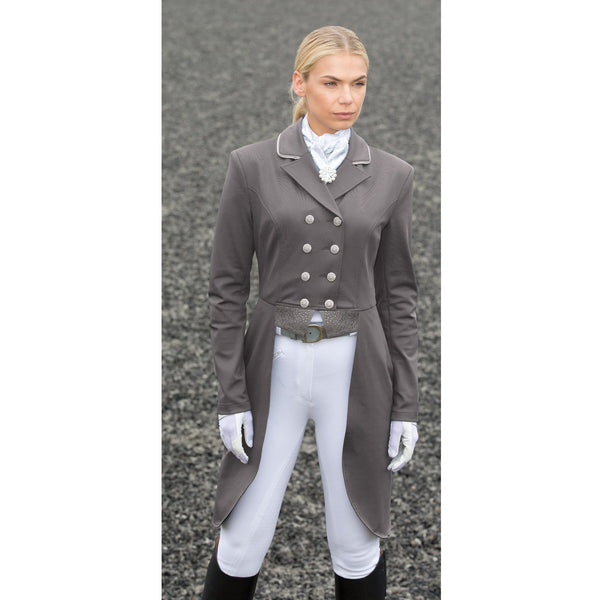 Equetech Jersey Deluxe Dressage Tailcoat Grey Front Full View