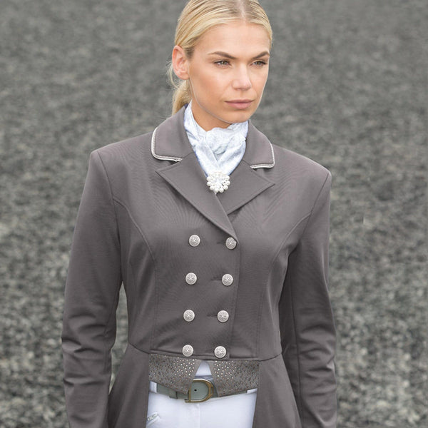 Equetech Jersey Deluxe Dressage Tailcoat Grey Front