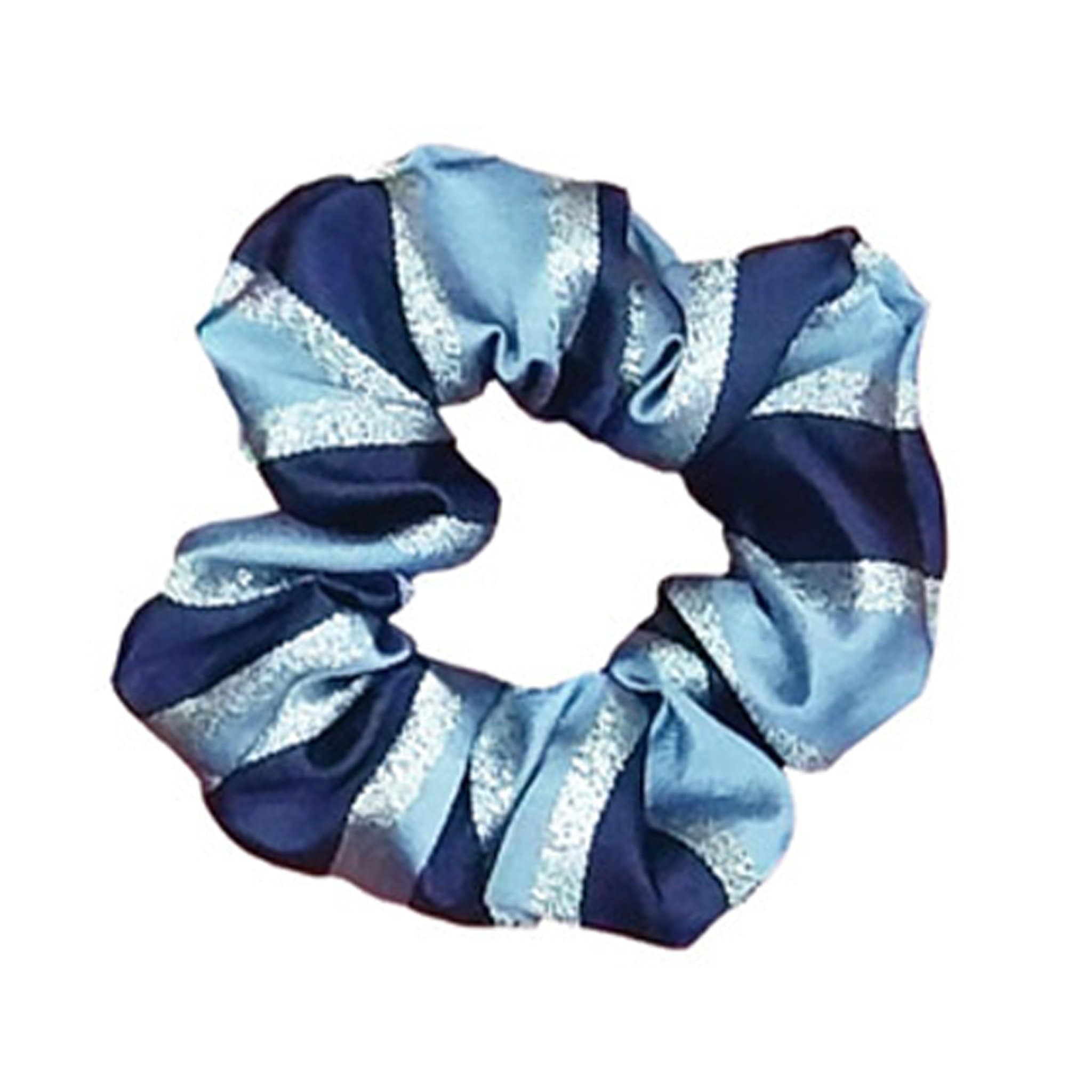 Equetech Lux Stripe Hair Scrunchie Light Blue with Navy and Silver Stripes SLZ