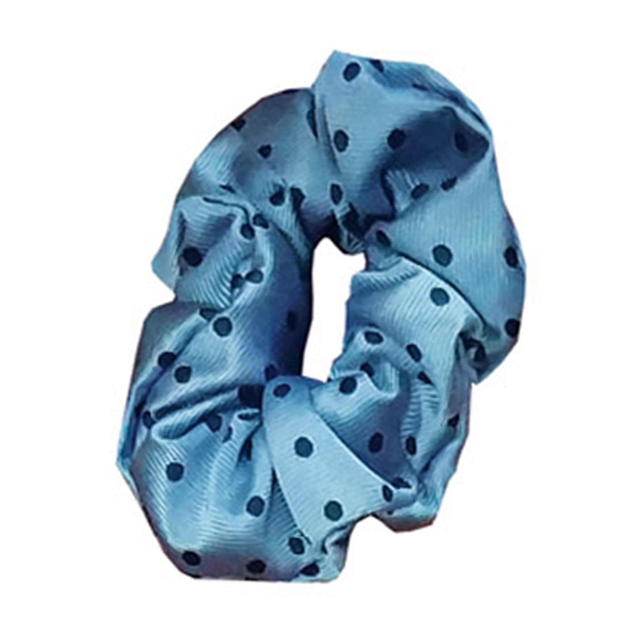 Equetech Polka Dot Show Hair Scrunchie SPZ Light Blue and Navy
