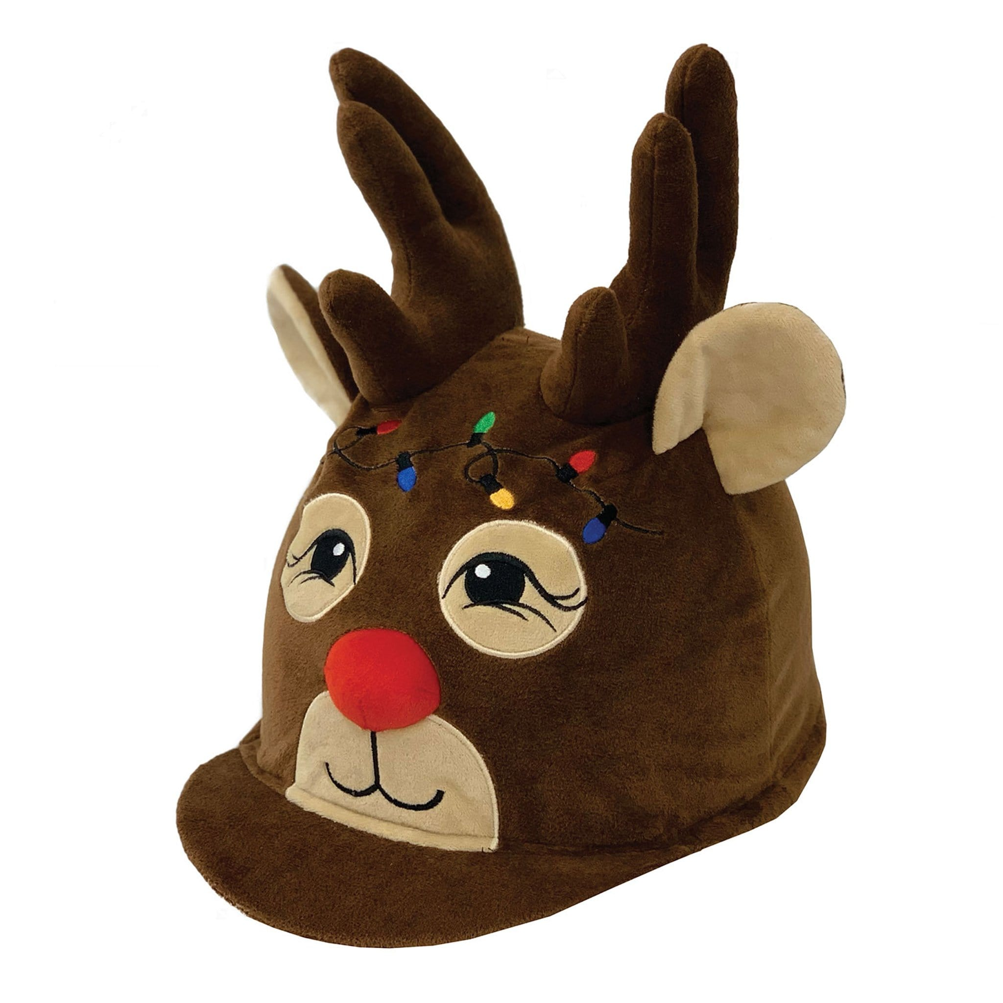 Equetech Children's Rudolph Reindeer Hat Silk REH Brown Novelty Christmas Hat Cover