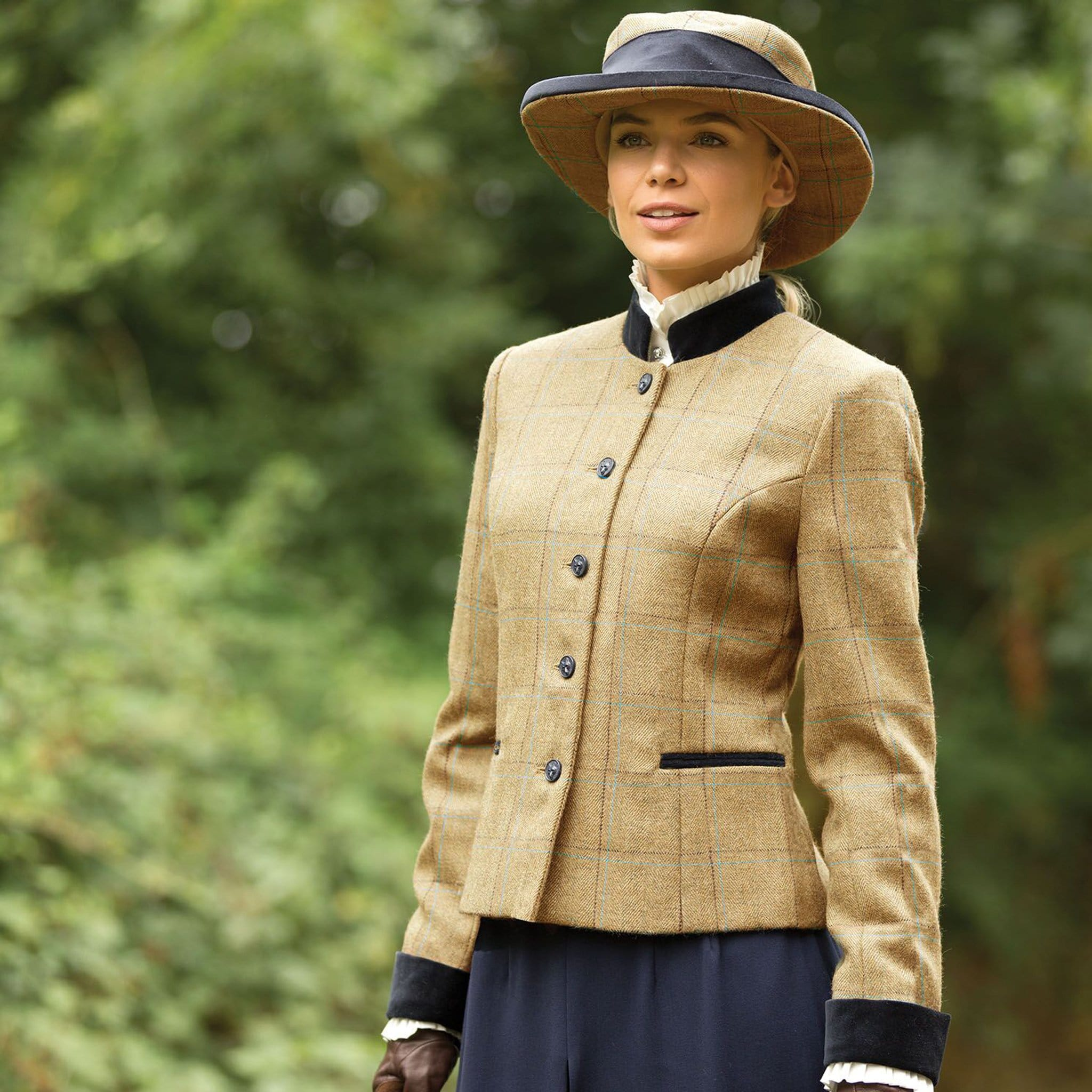 Equetech Studham Deluxe Tweed Leaders Jacket and Hat SDL Front