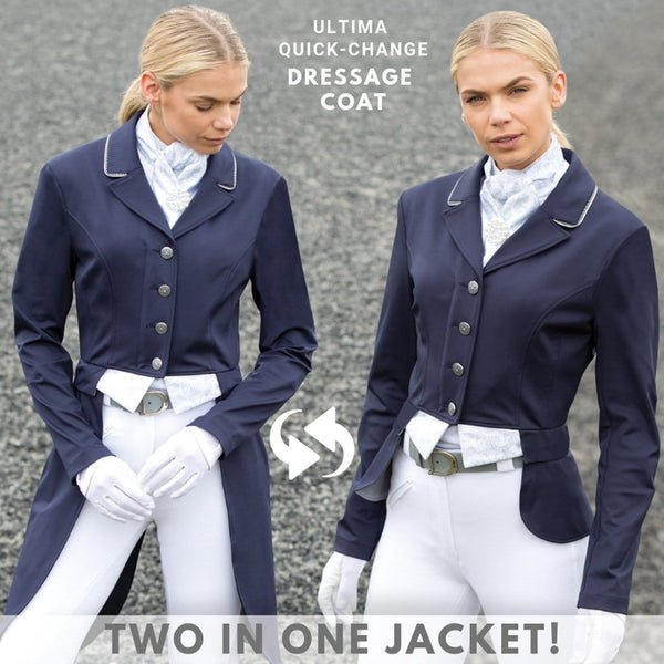 Equetech Ultima Quick-Change Dressage Coat Navy Two In One Jacket And Tailcoat