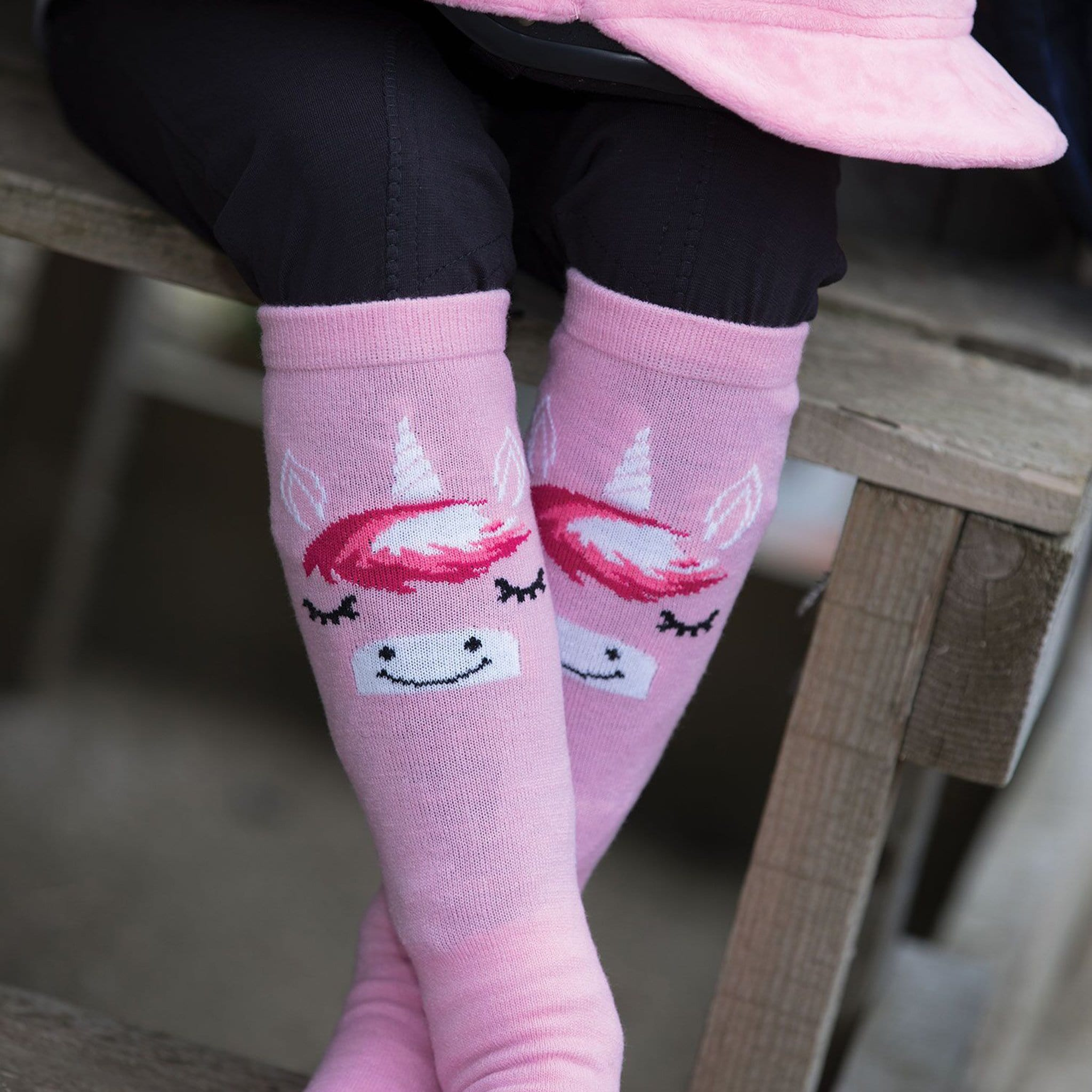Equetech Children's Long Unicorn Riding Socks USX Close Up
