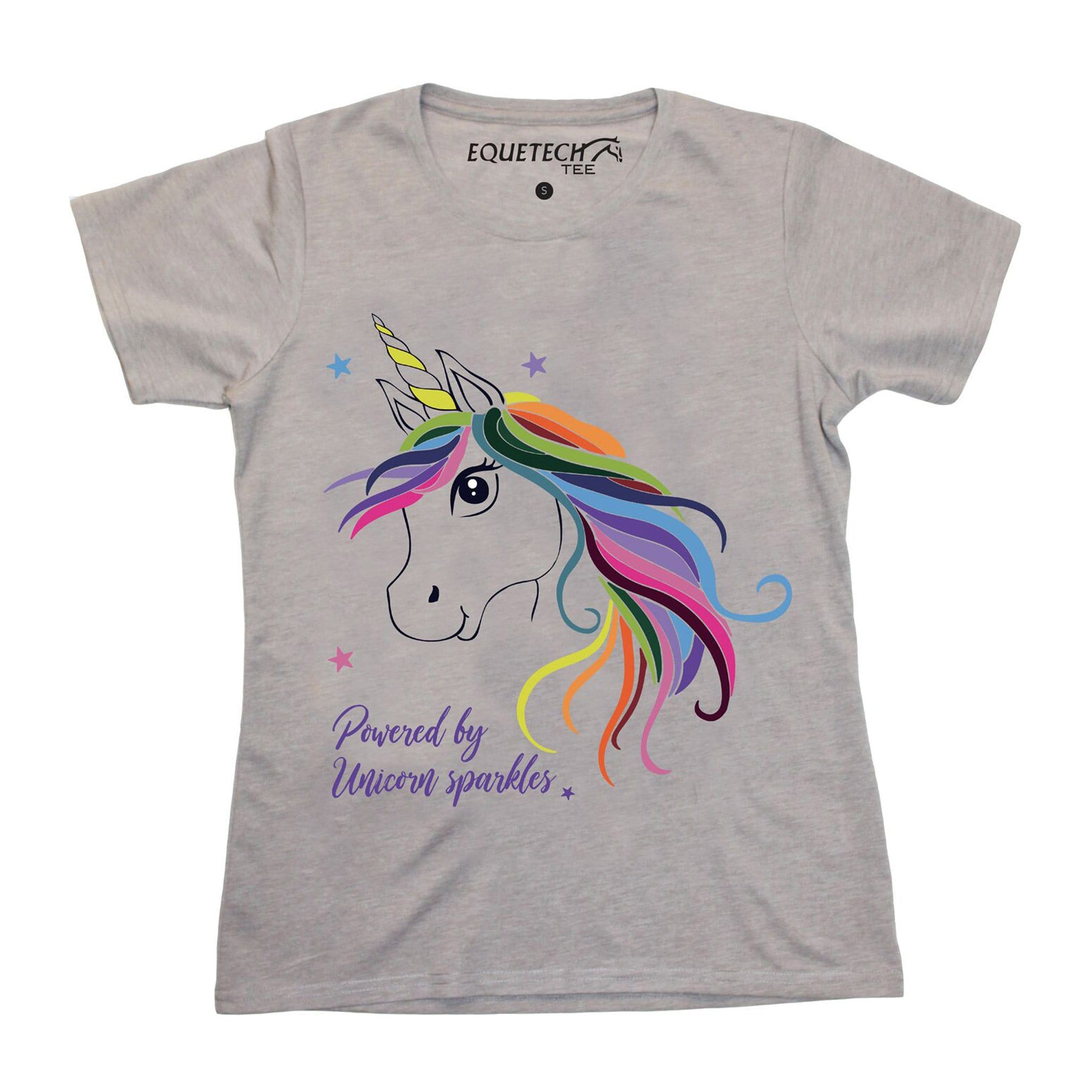 Equetech Children's Unicorn Slogan Tee UTE Grey