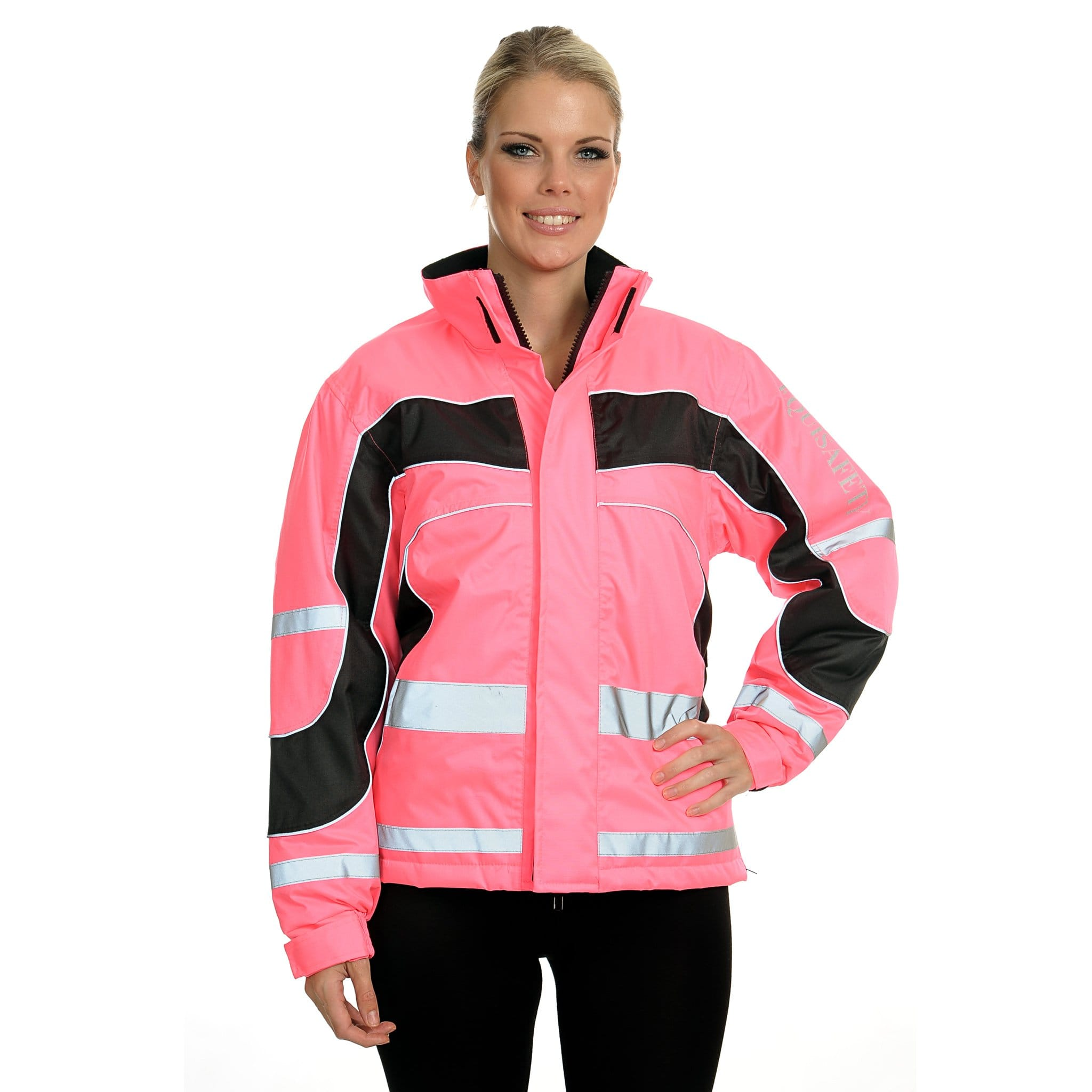 Equisafety Aspey Lightweight Performance Jacket Pink Front View On Model LWJ