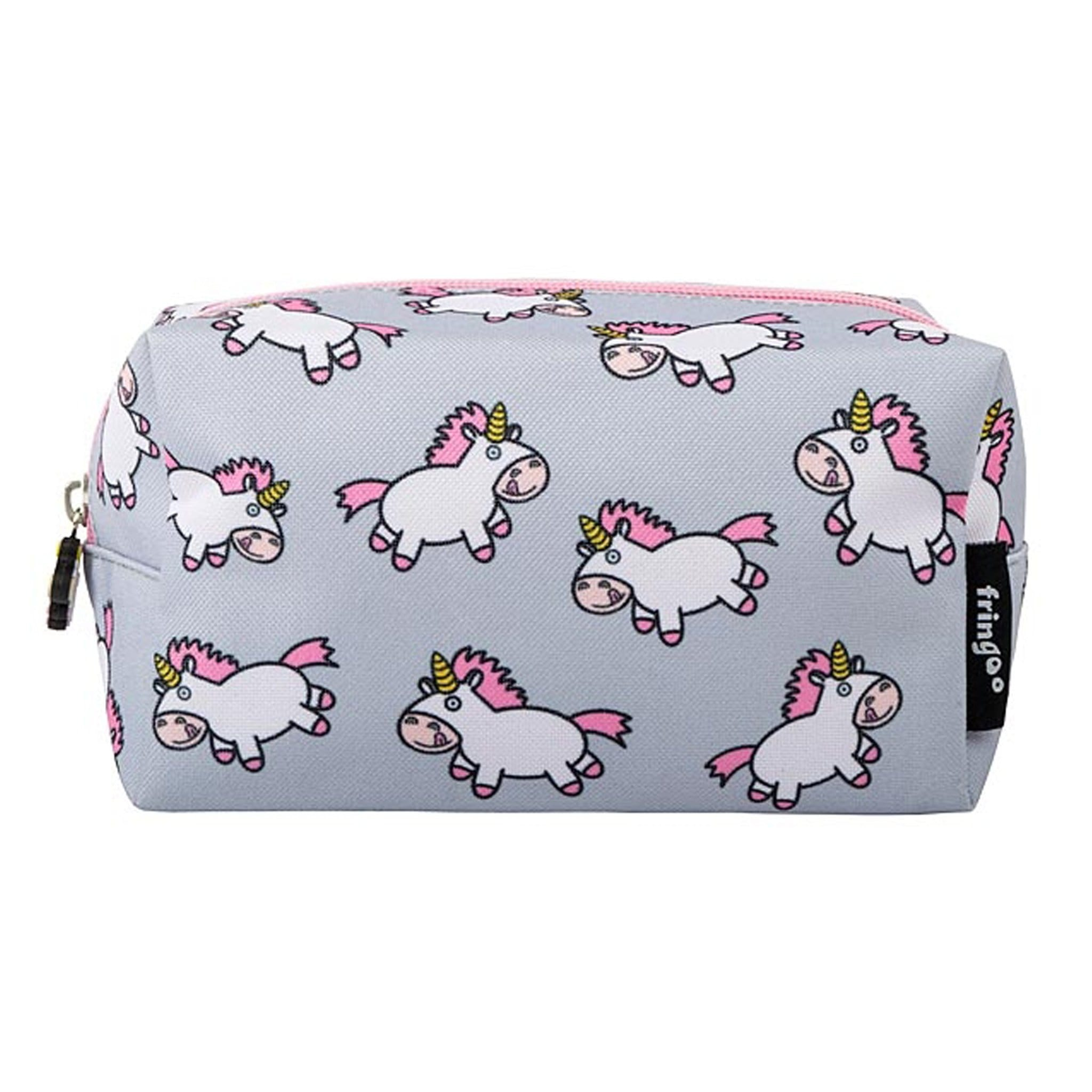 Fringoo Unicorn Make Up Bag In Grey With White Cartoon Unicorns Side View