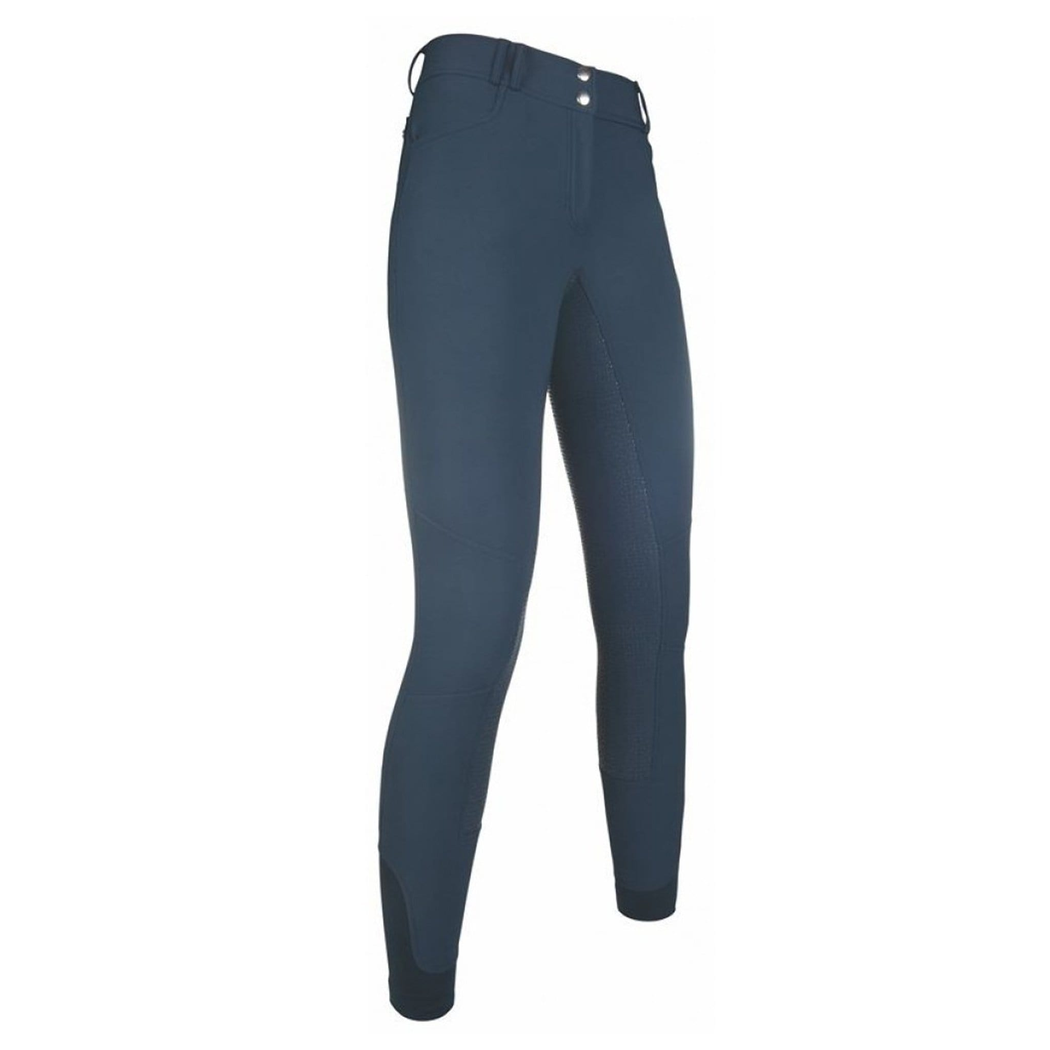 HKM Armonia Softshell Silicone Full Seat Breeches 9244 Navy Deep Blue Front View