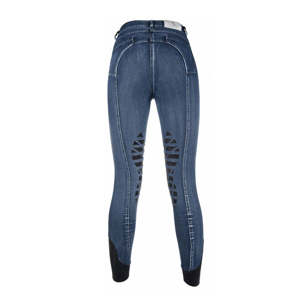 HKM Cavallino Marino Rimini Worn Denim Silicone Knee Patch Breeches 9543 Rear