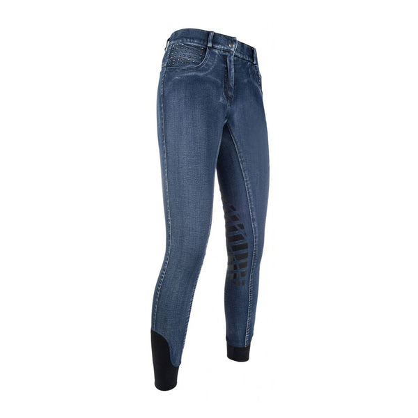 HKM Cavallino Marino Rimini Worn Denim Silicone Knee Patch Breeches 9543 Front
