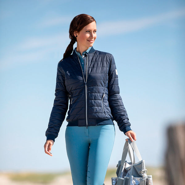 HKM Cavallino Marino Venezia Blouson Quilted Jacket 10592 Deep Navy Blue Front On Model Zipped Walking