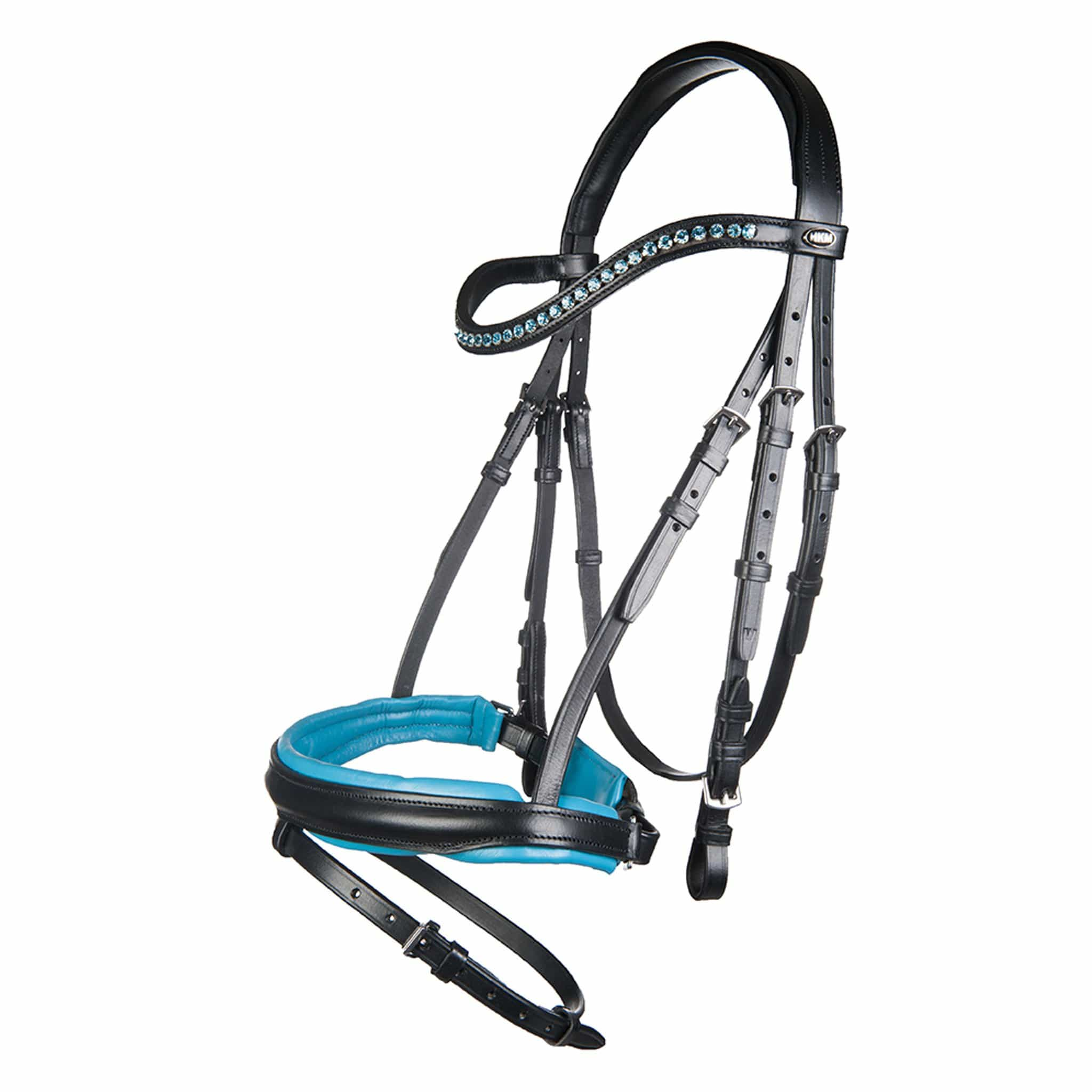 HKM Colour Bridle 11255 Black and Turquoise Blue Full Bridle