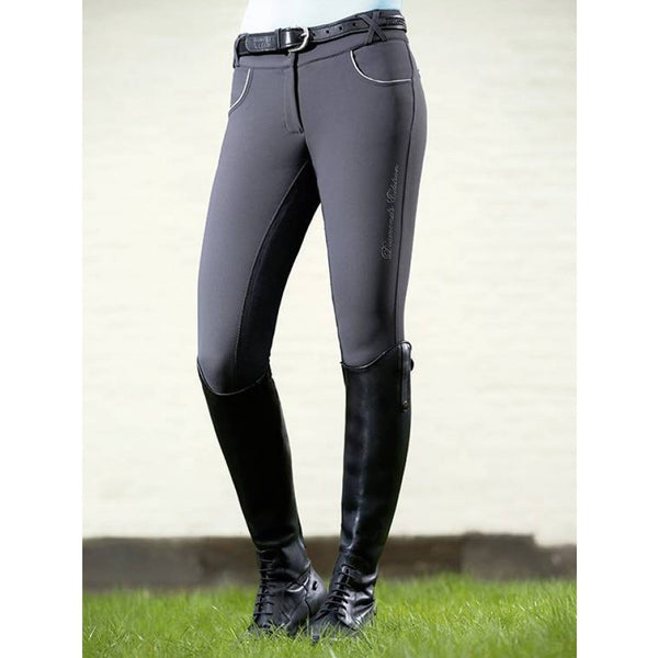 HKM Diamond Shine Alos Full Seat Breeches 10099 Deep Grey On Model Front