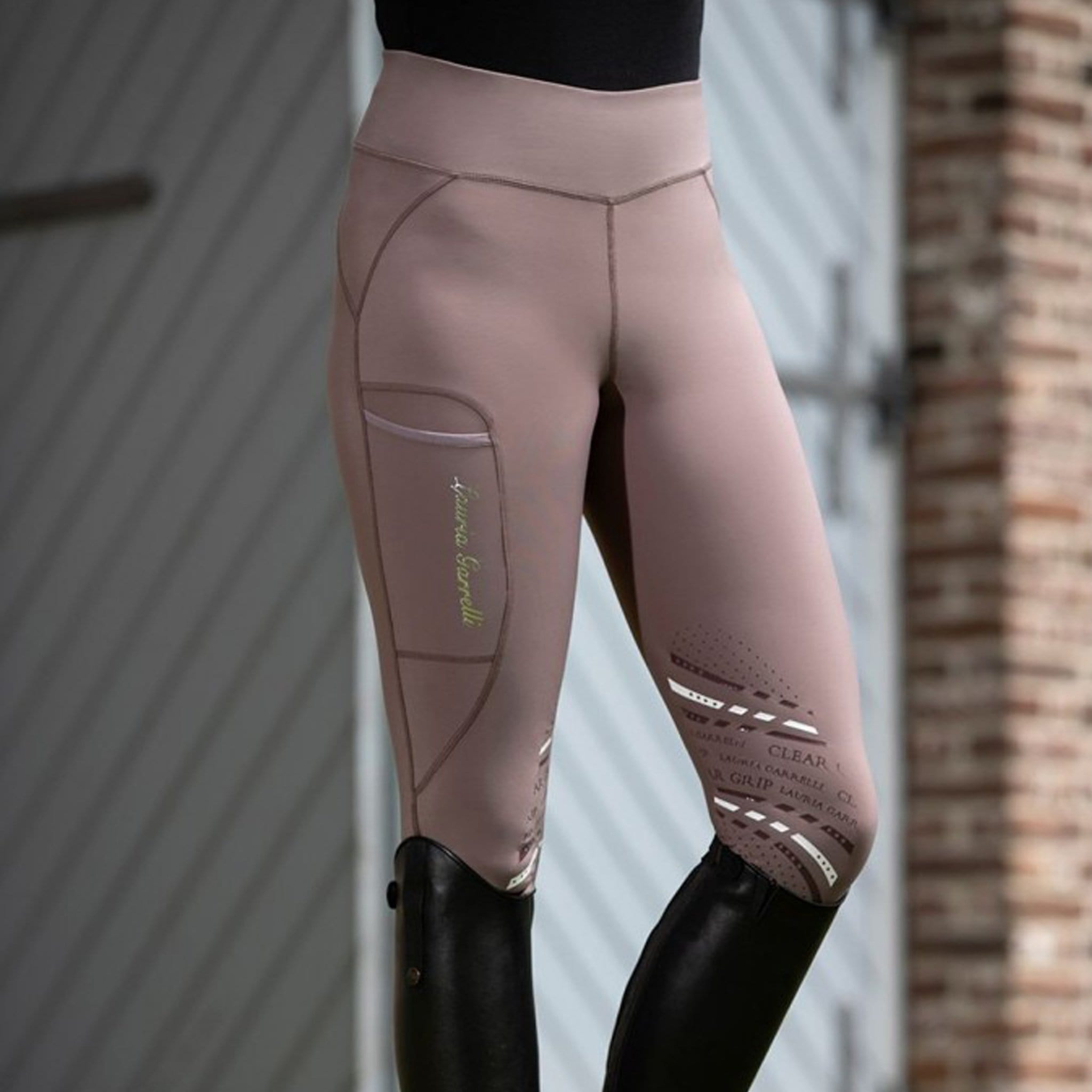 HKM Lauria Garrelli Elemento Silicone Knee Patch Riding Tights 11513 Light Brown On Model Front