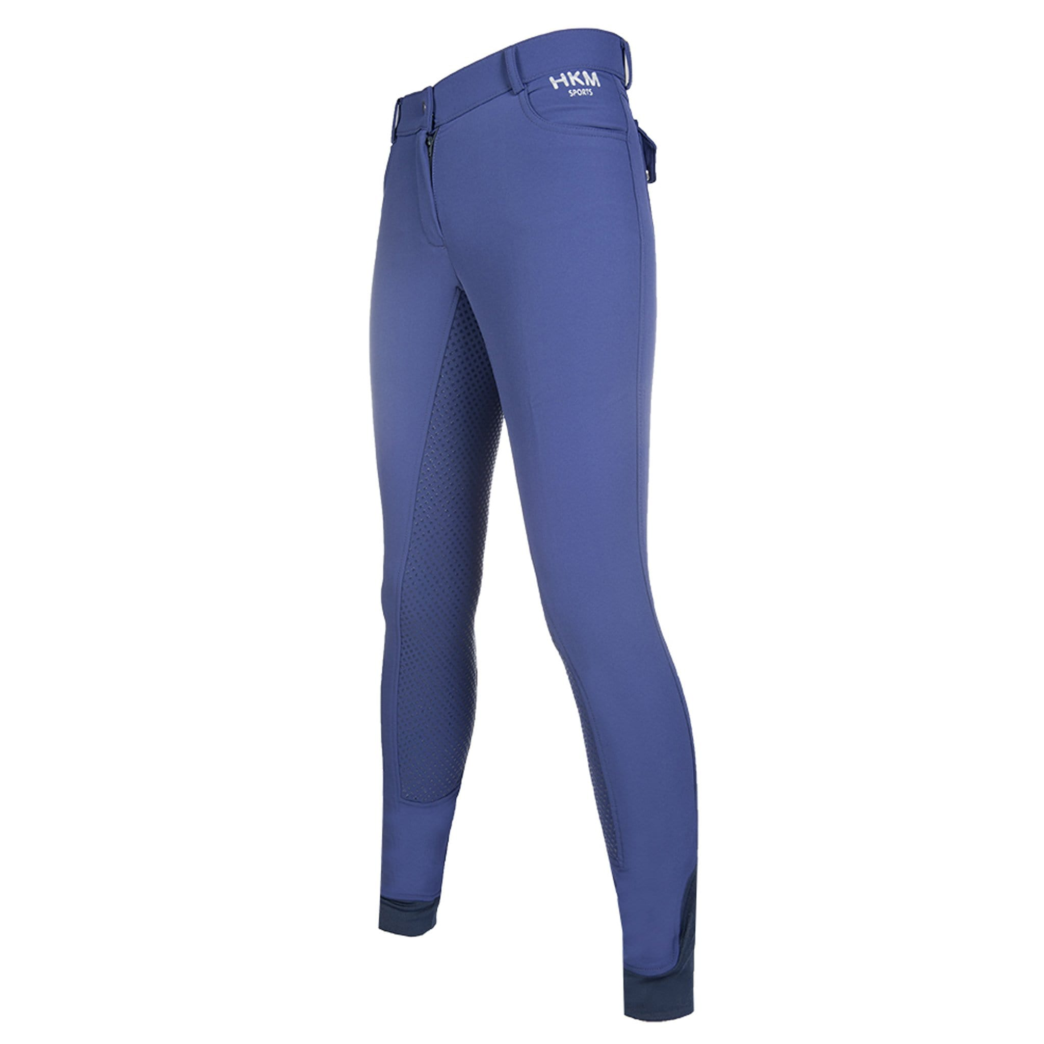 HKM Emma Silicone Full Seat Breeches 10919 Deep Blue Front Left View