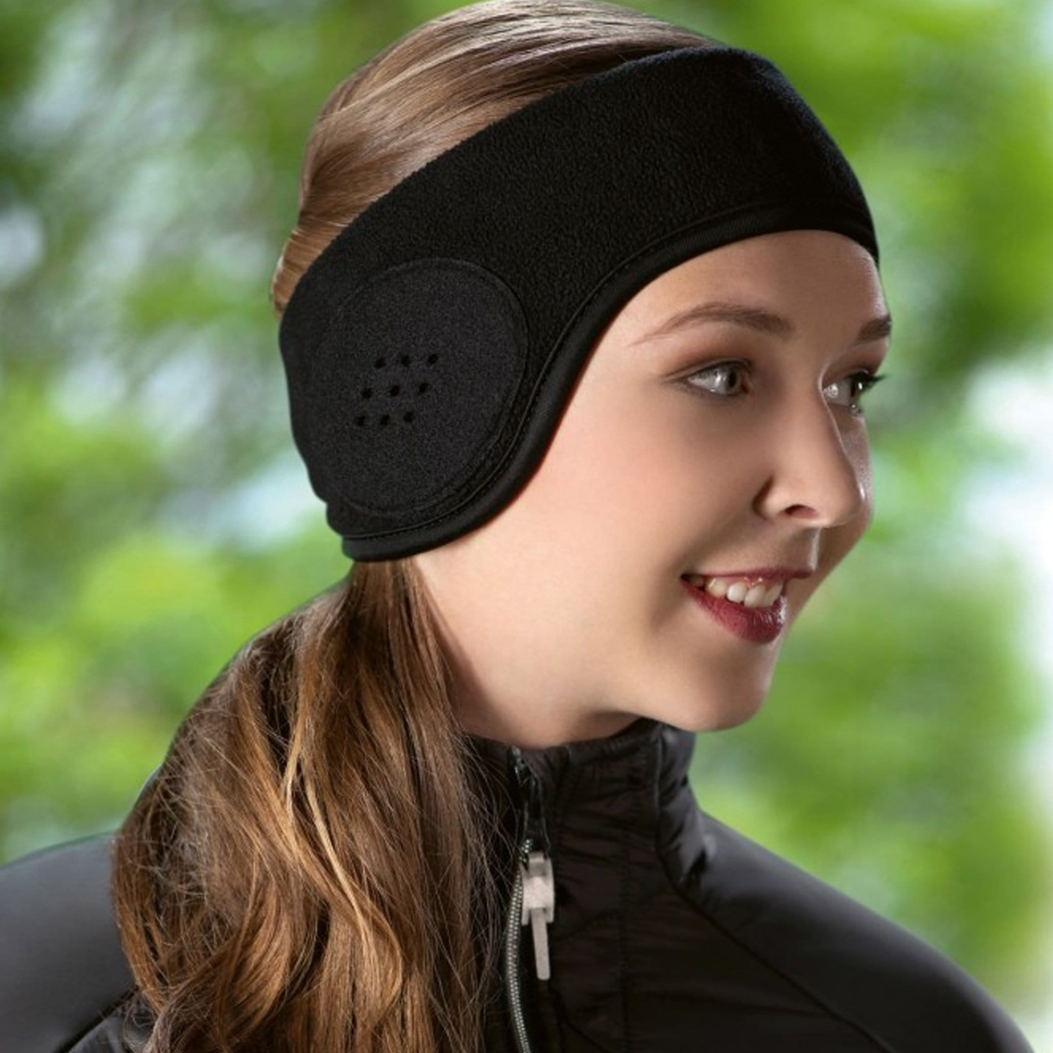 HKM Fleece Ear Warmers Black 2649