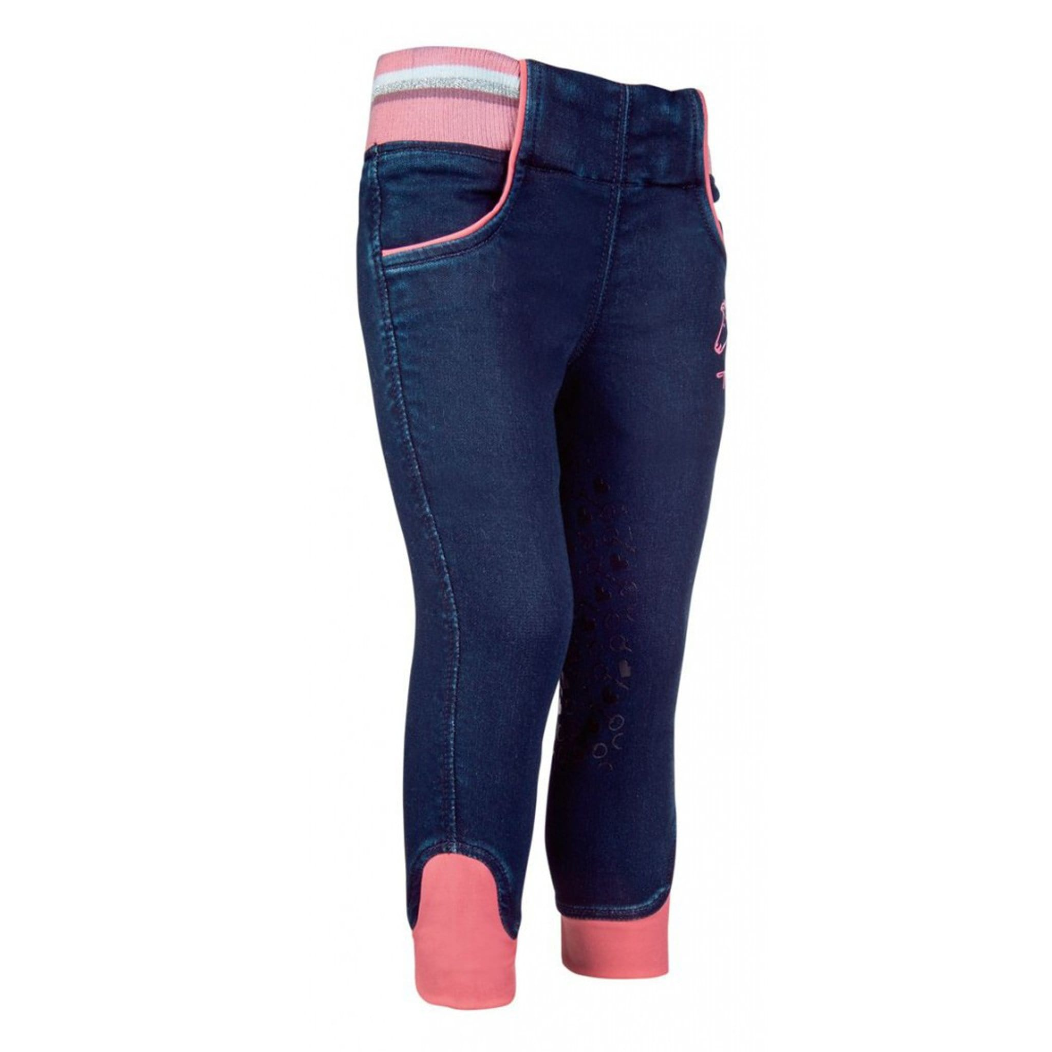 HKM Children's Julia Denim Silicone Knee Patch Riding Tights 11227 Deep Blue Front