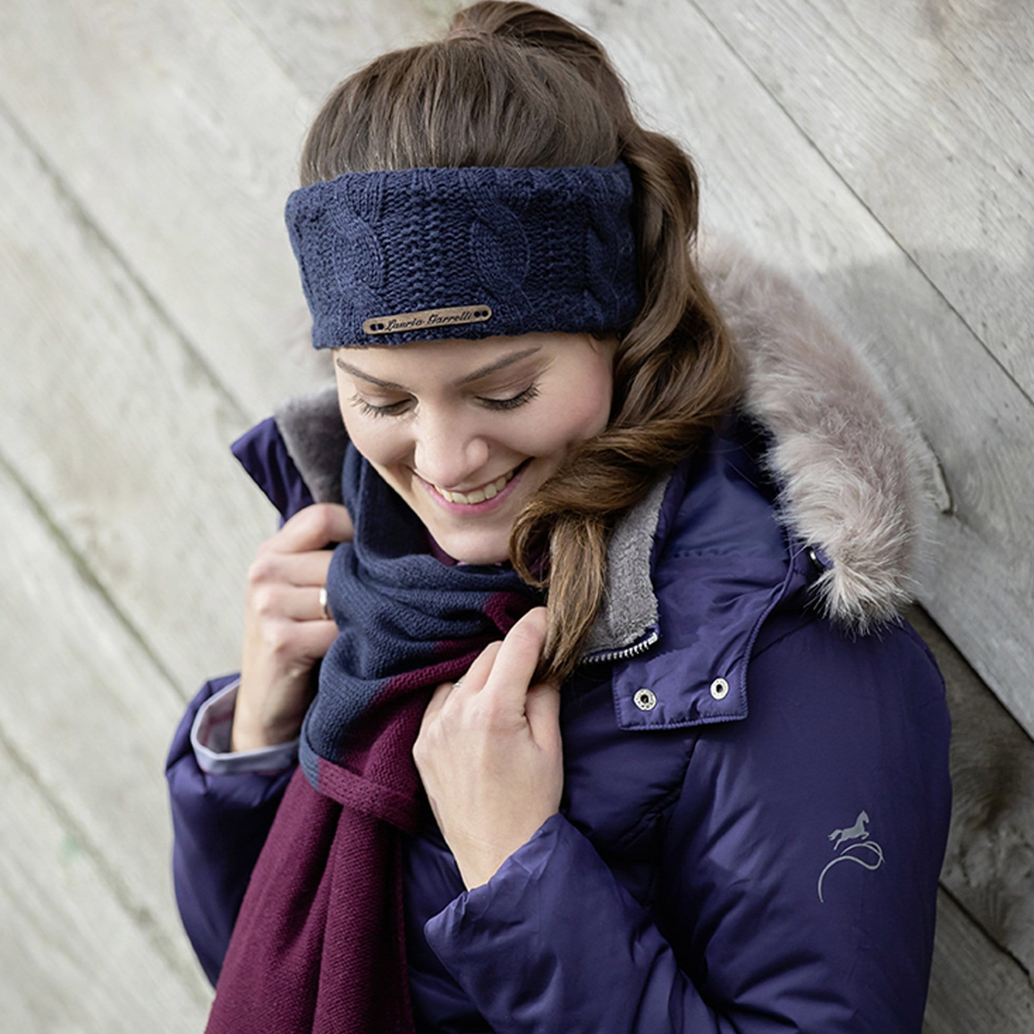 HKM Lauria Garrelli Morello Headband 12210 Indigo Blue On Model