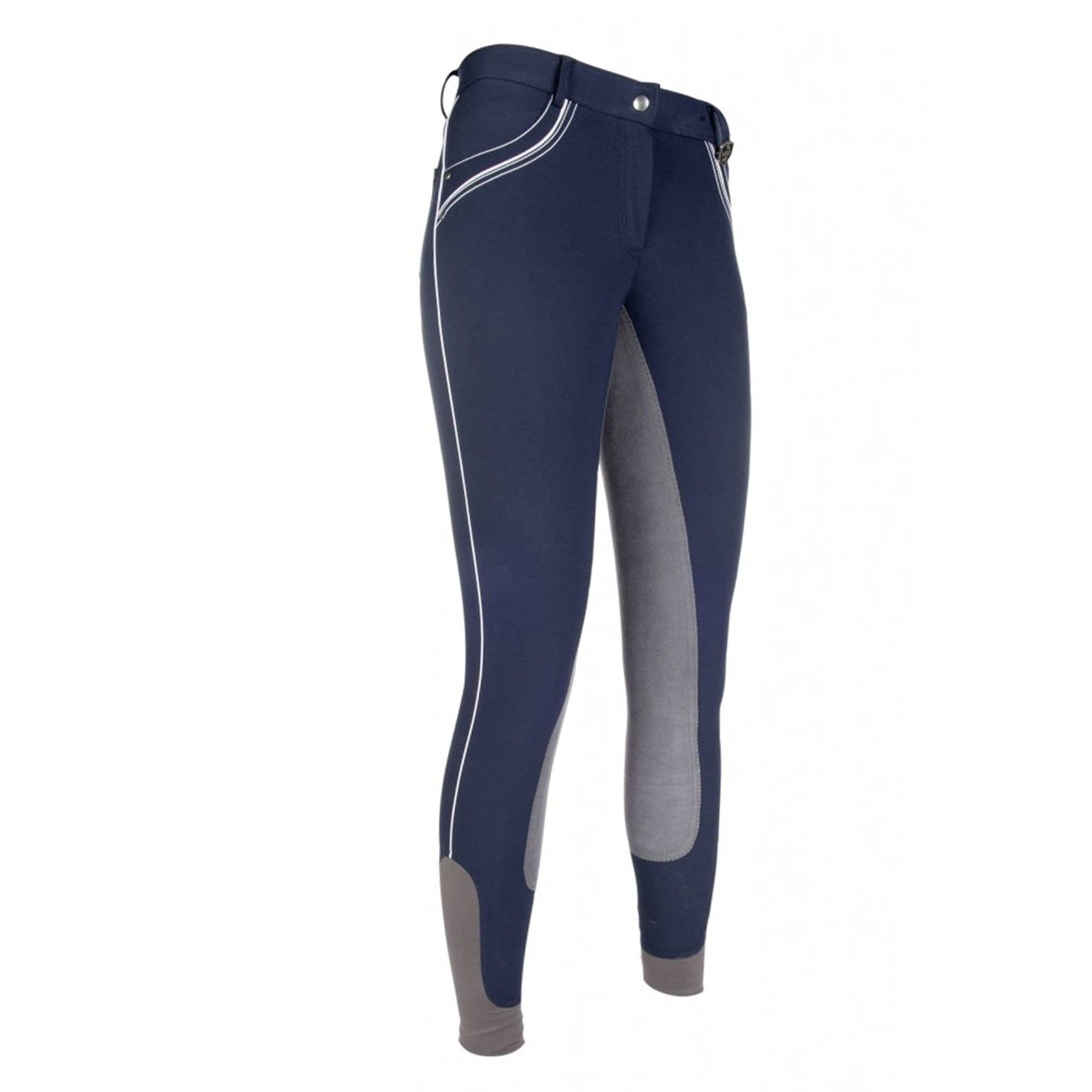 HKM London Alos Full Seat Breeches 9179 Deep Blue and Grey Front