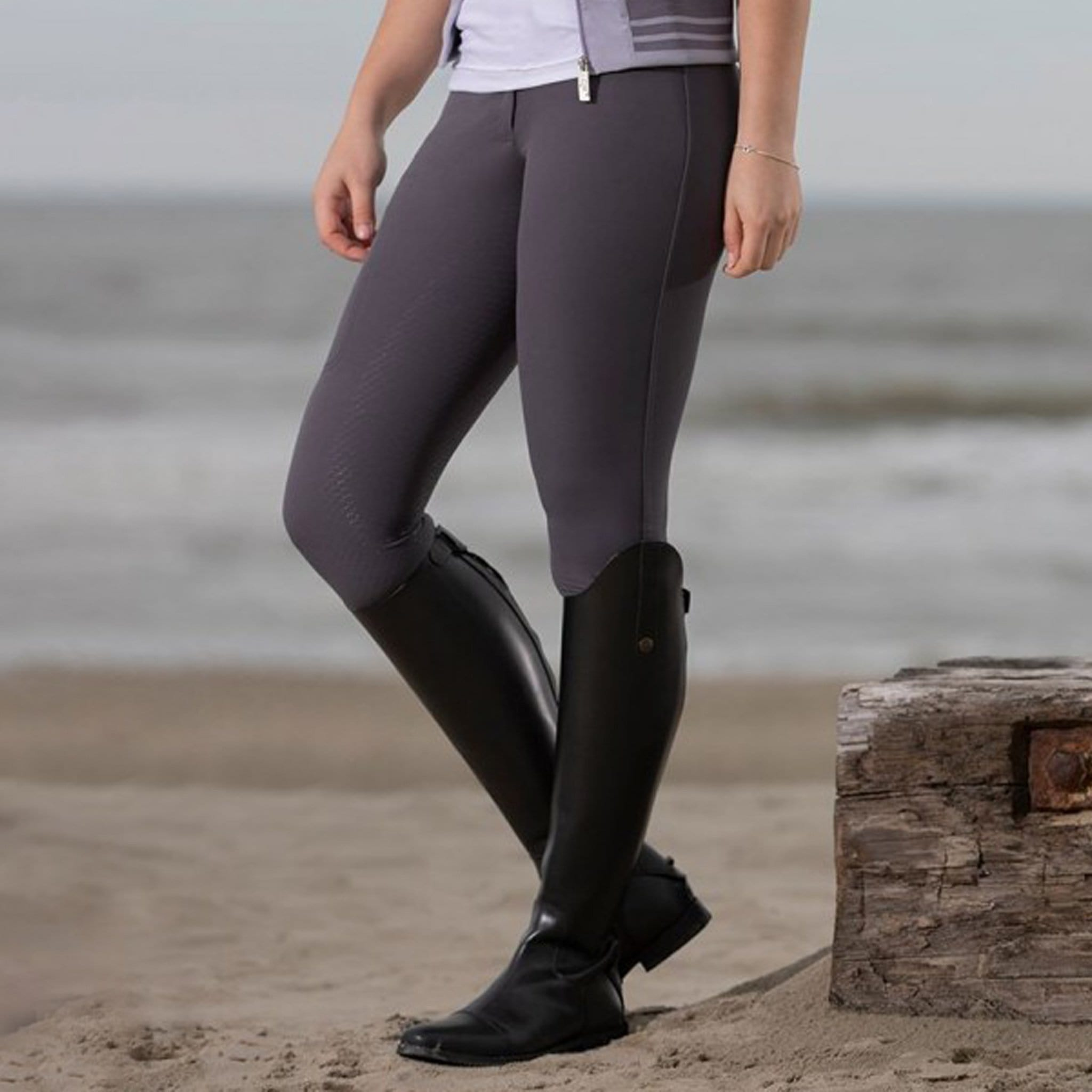 HKM Mondiale Silicone Full Seat Breeches 11323 Dark Blue-Grey On Model SIde