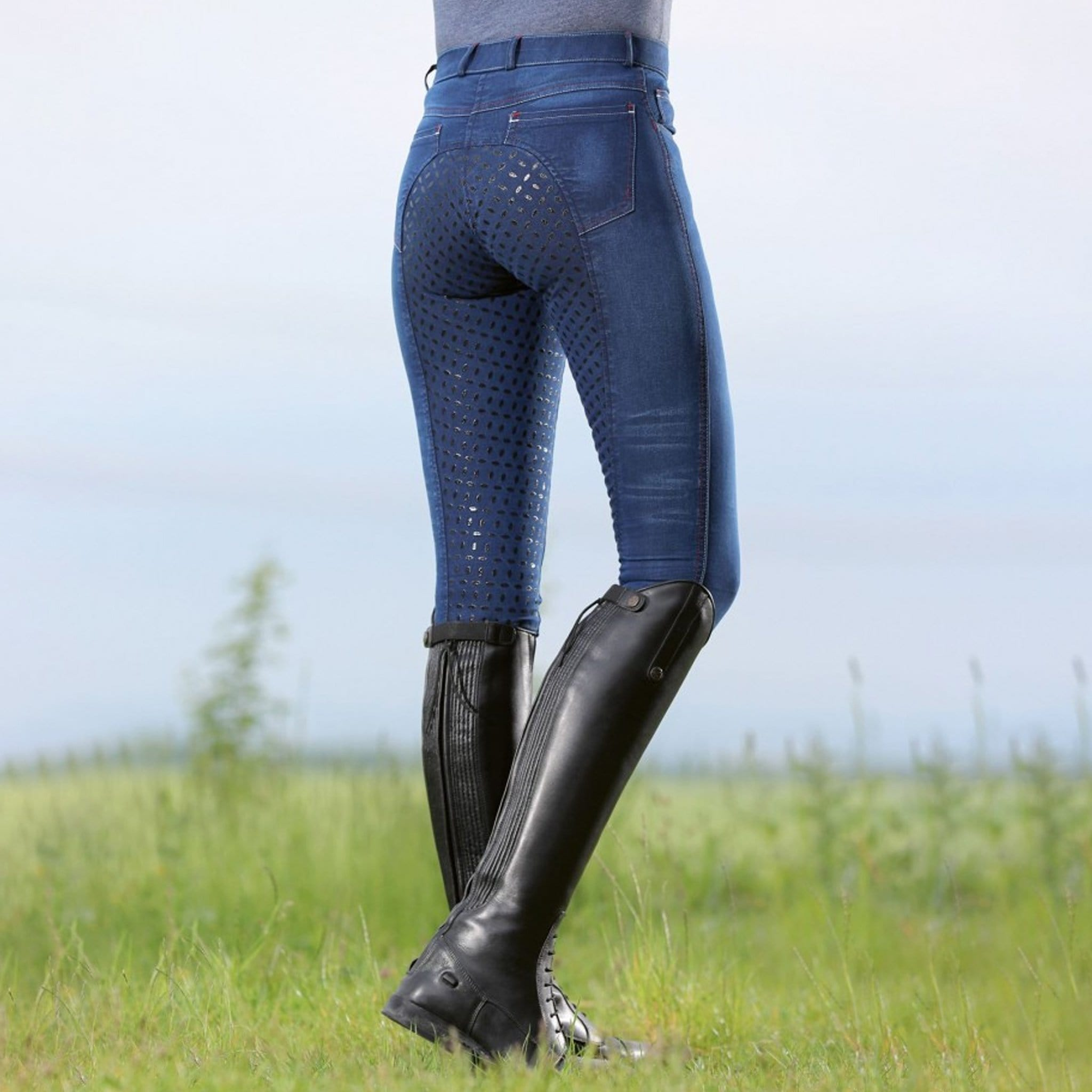 HKM Summer Easy Denim Silicone Full Seat Breeches Back On Model 11055.