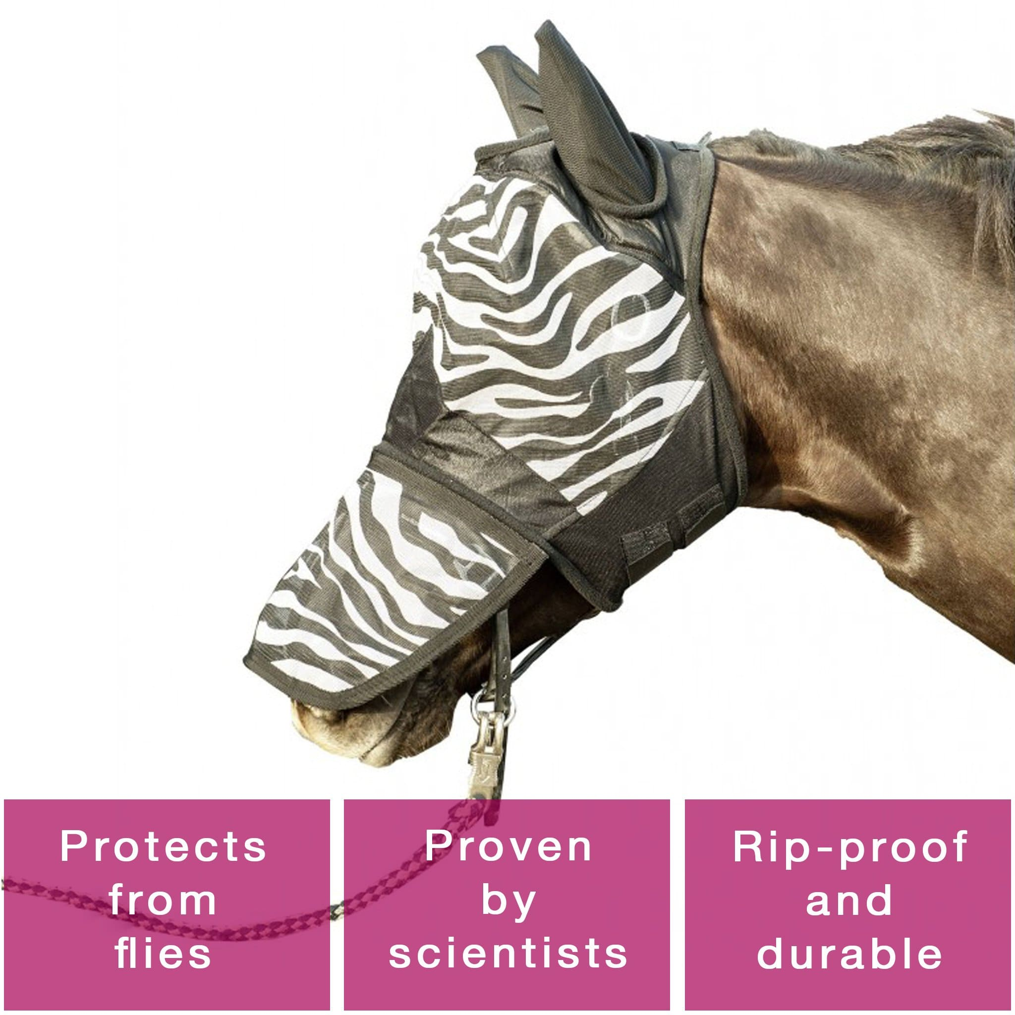 HKM Zebra Print Anti Fly Mask 5269 Main Hero Image