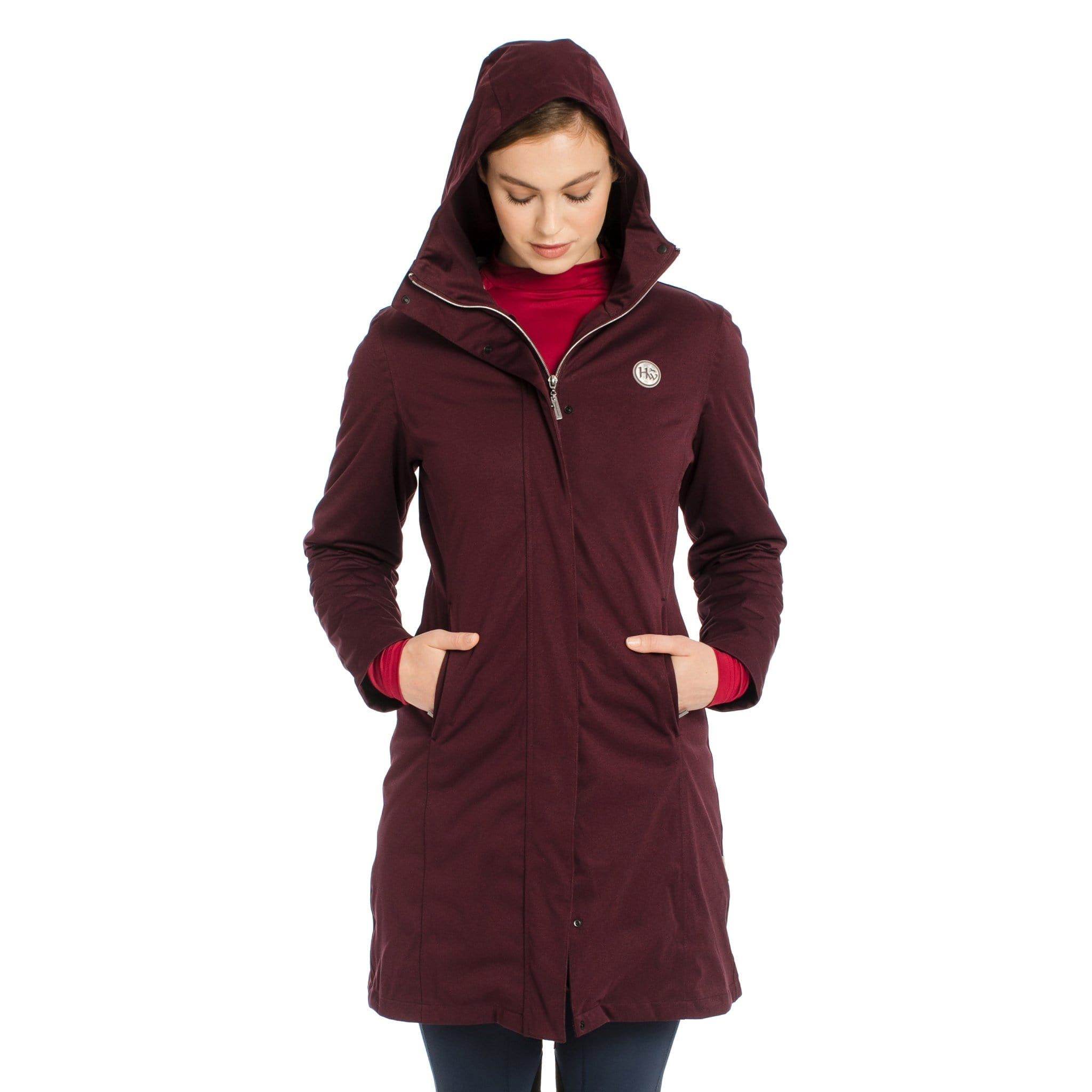 Horseware 3-in-1 Super Technical Coat CAHATX Fig On Model Front View With Hood Up